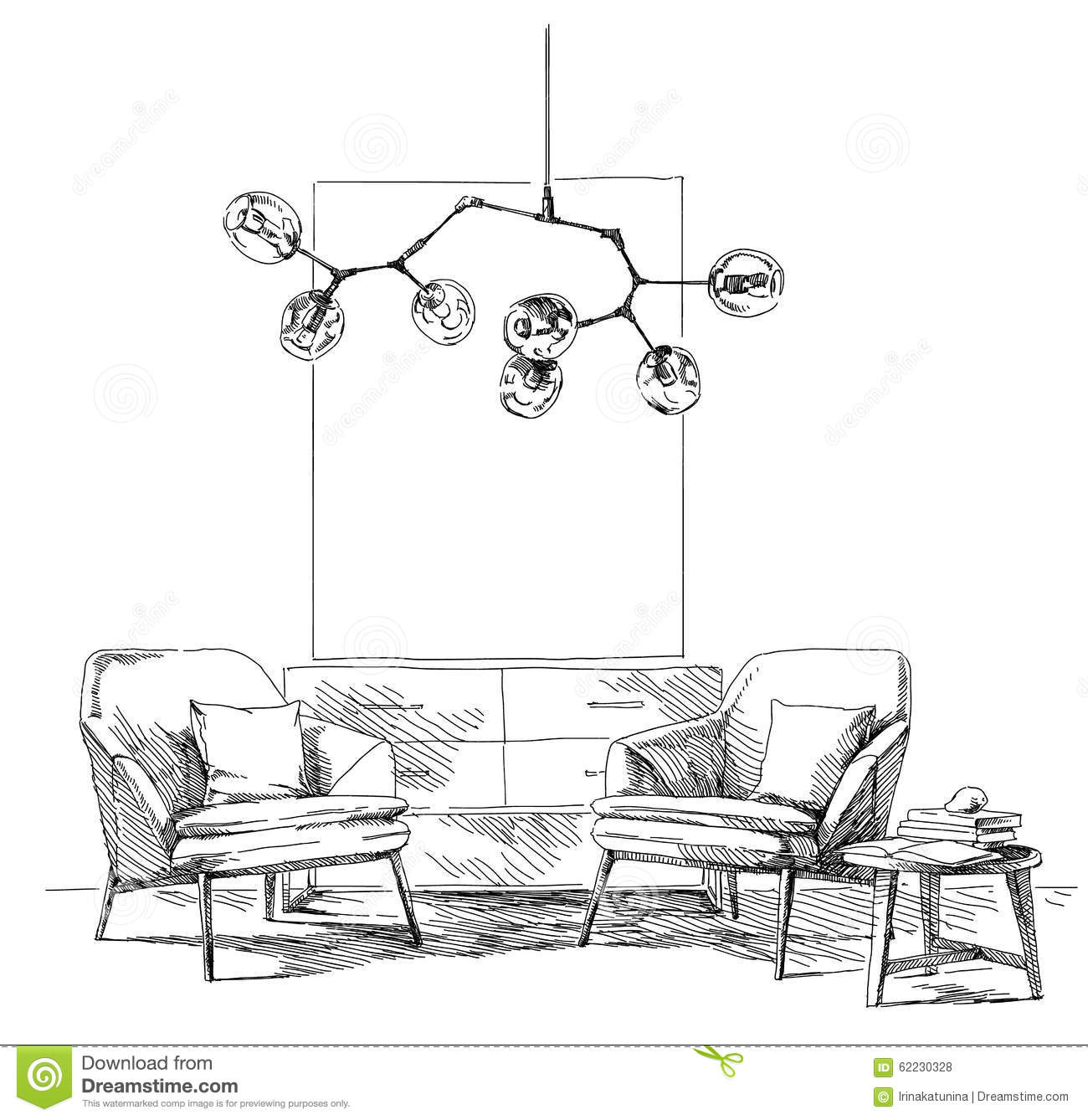 Modern Interior Hand Drawing Vector Stock Vector