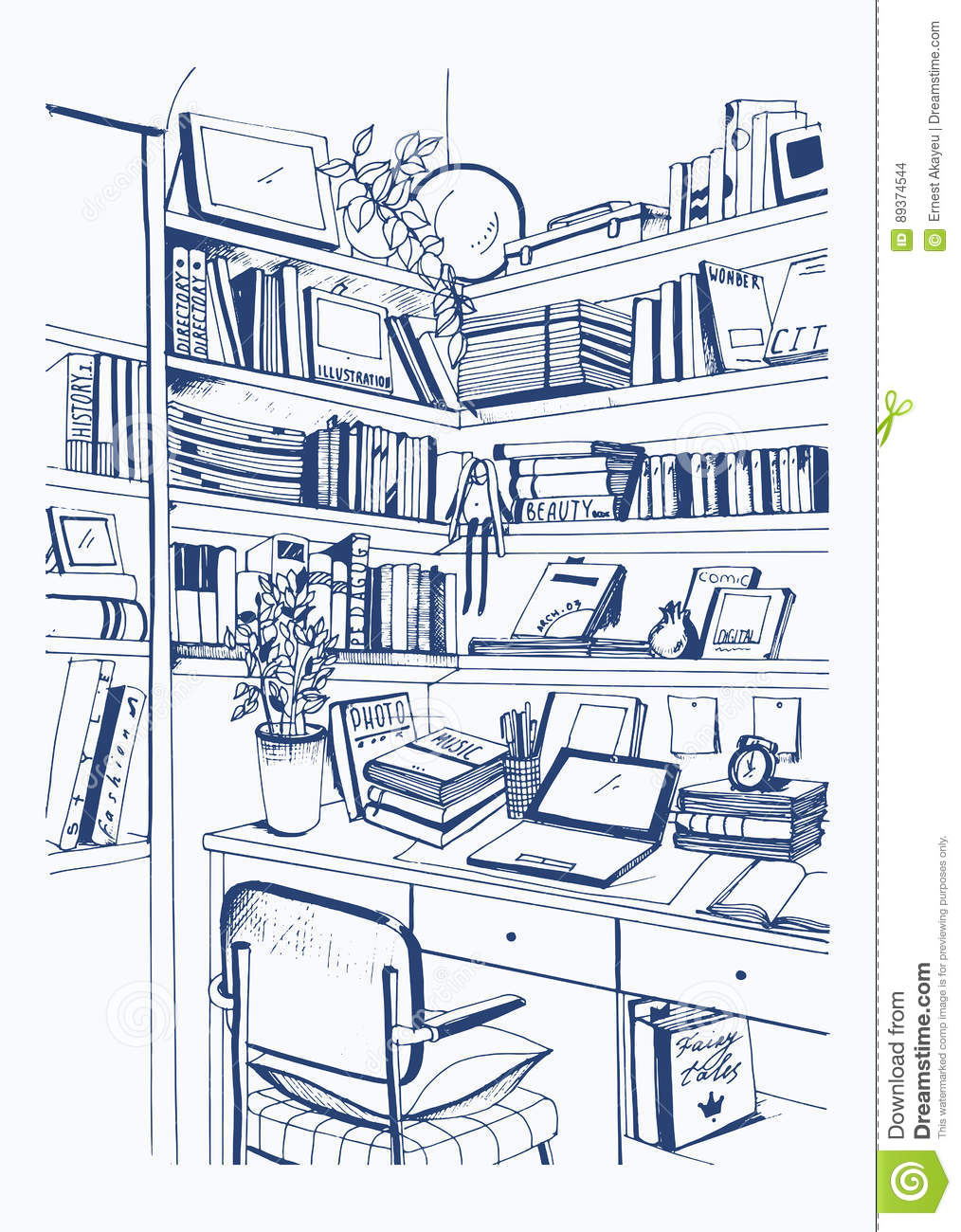 Modern Interior Home Library Bookshelves Workplace Hand Drawn Sketch Illustration