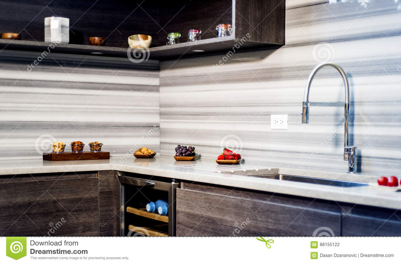 Modern Interior Kitchen With Brown Base Kitchen Cabinets And