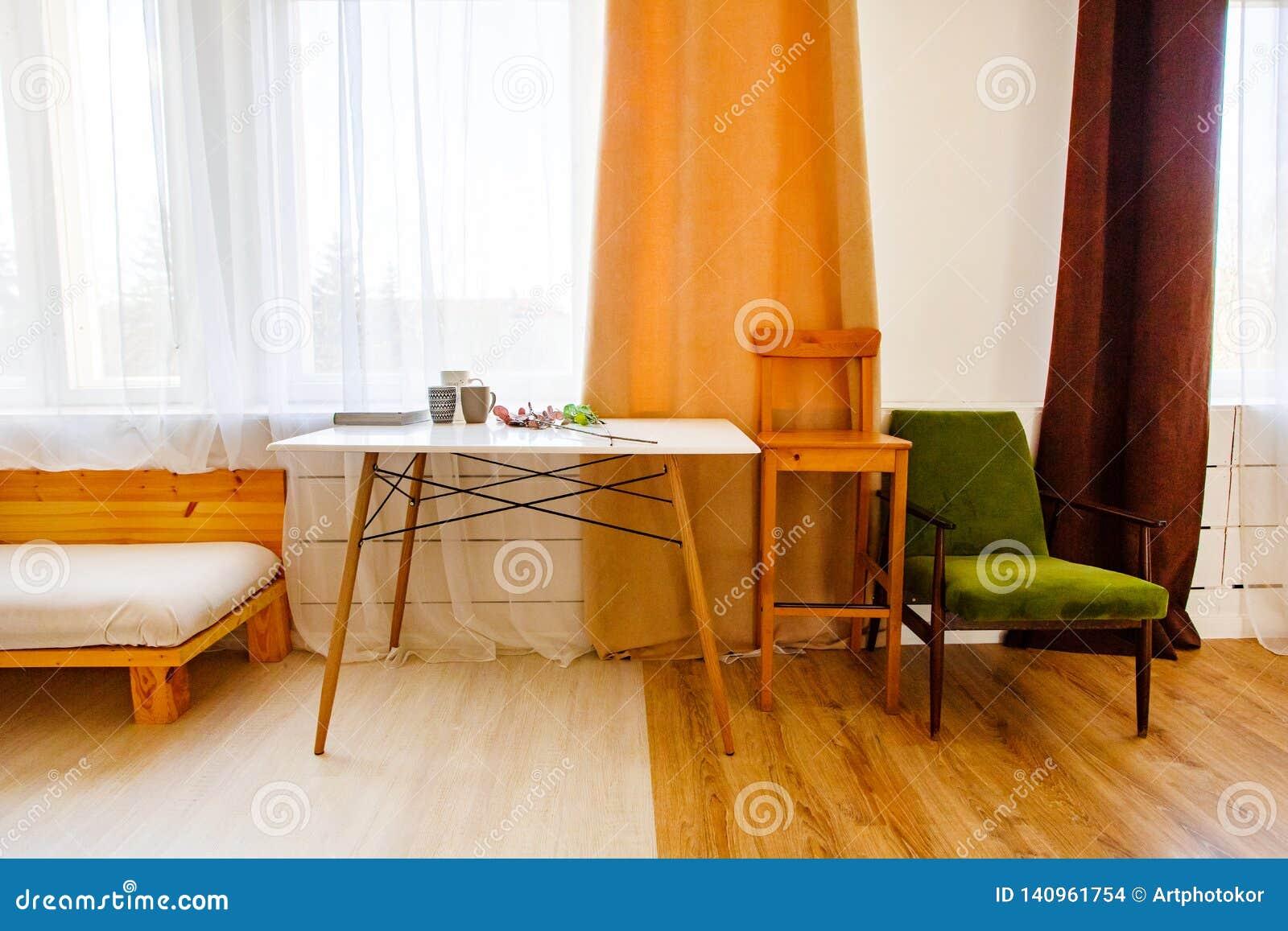 Modern interior in kitchen. Room decor concept
