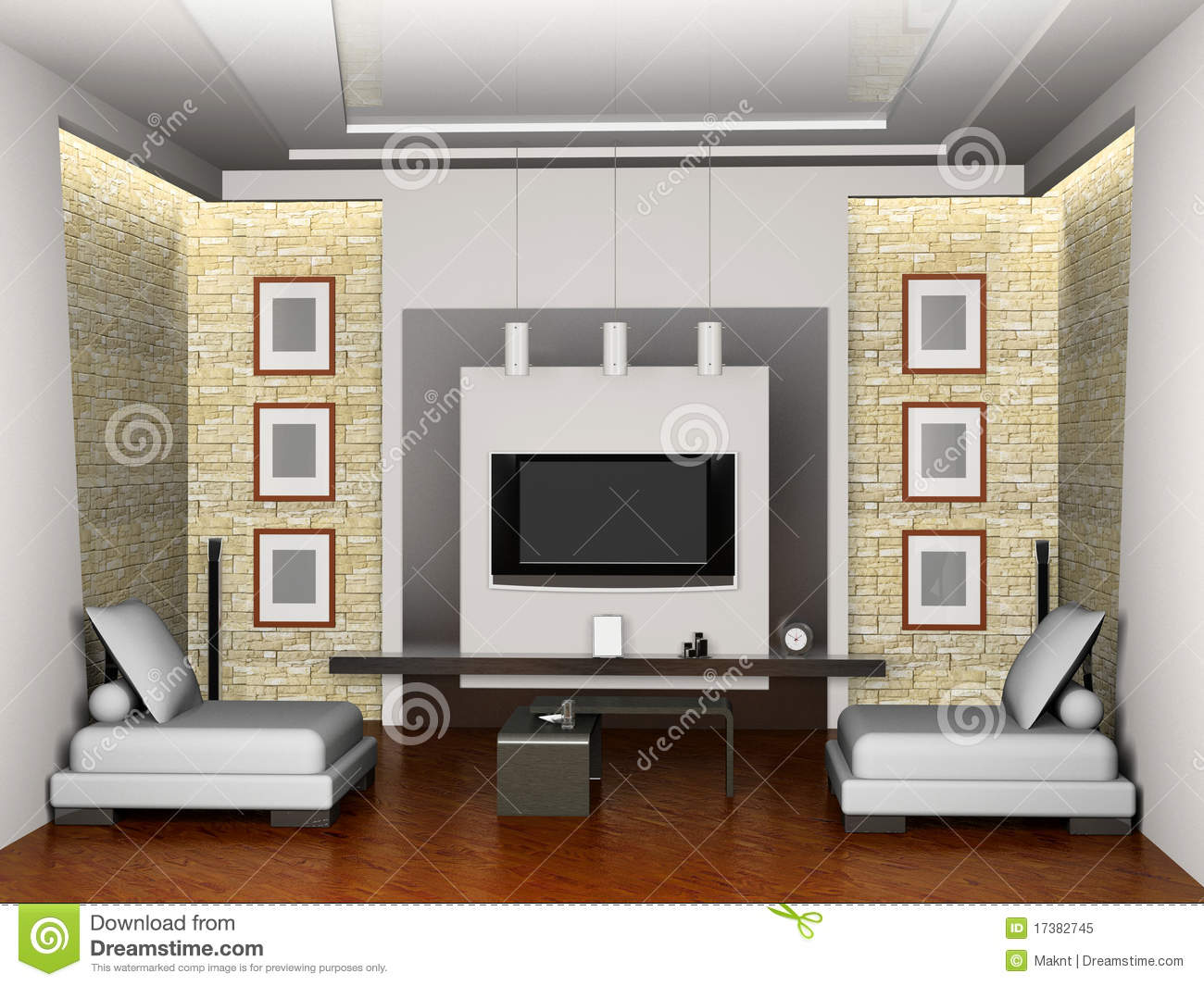 Modern interior of the living room 3d royalty free stock for Living room 3d