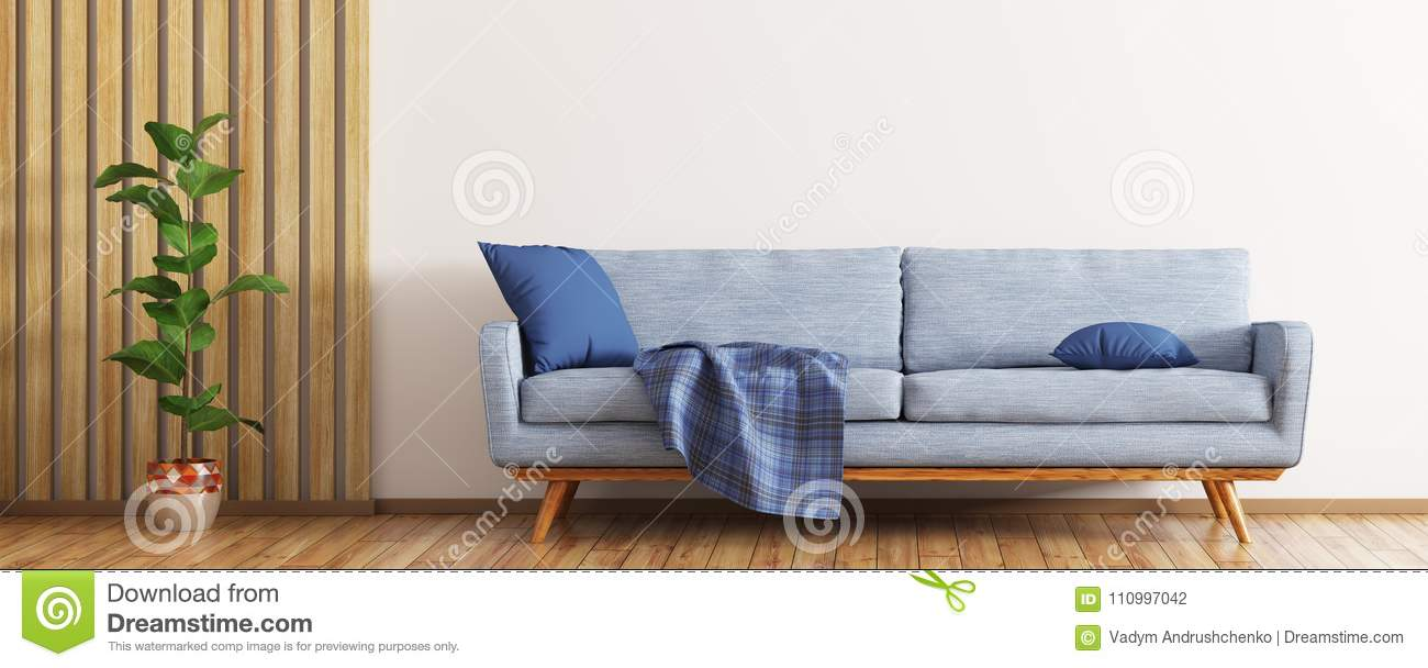 Modern Interior Of Living Room With Blue Sofa 3d Render ...
