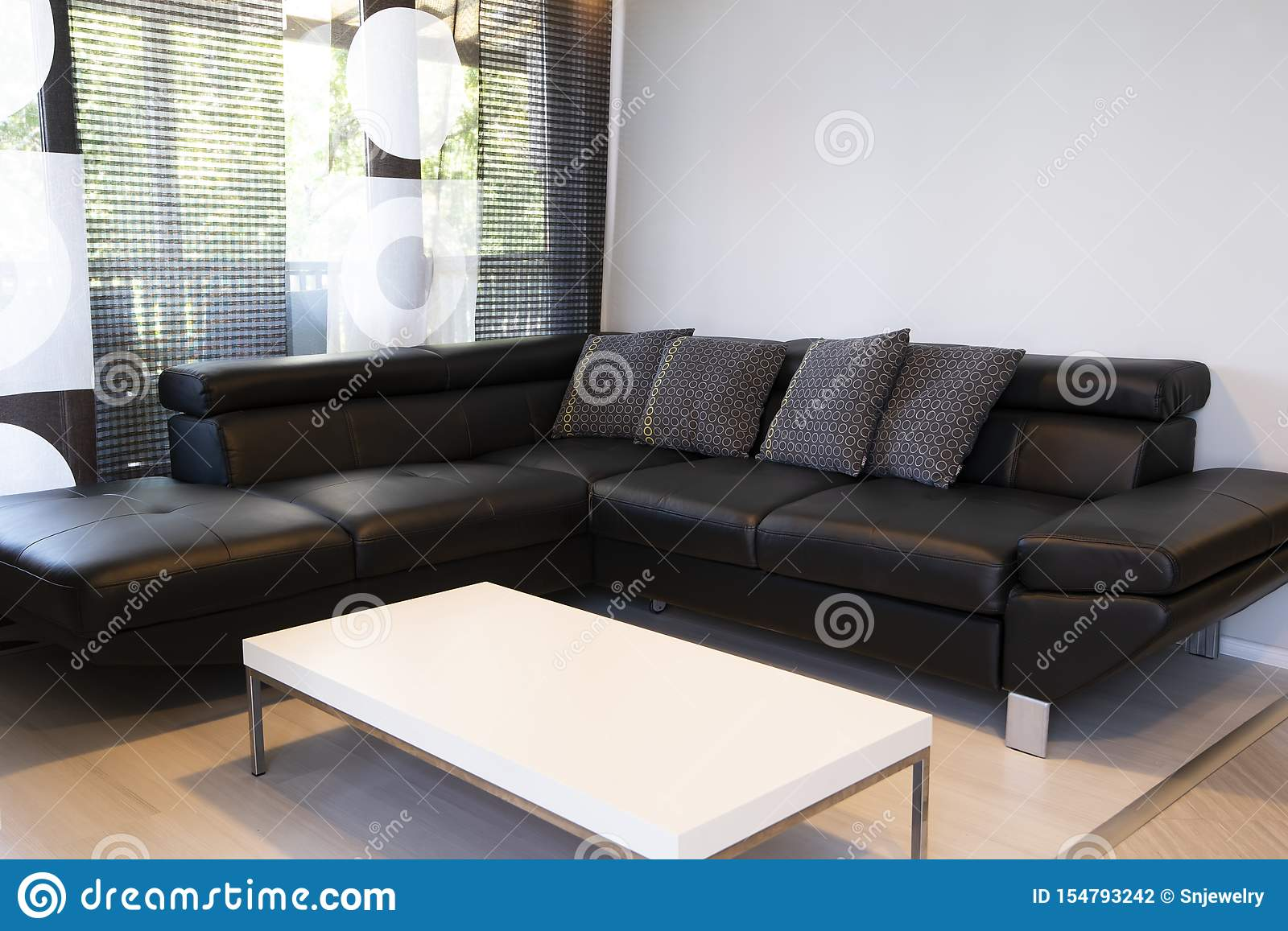 Commercial Office Paint Color Ideas, Modern Interior Of Living Room With Comfortable Black Leather Sofa Stock Photo Image Of Background Indoor 154793242