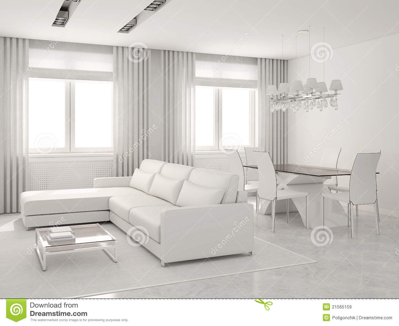 Modern Interior Of Living-room And Dining-room. Stock Illustration ...