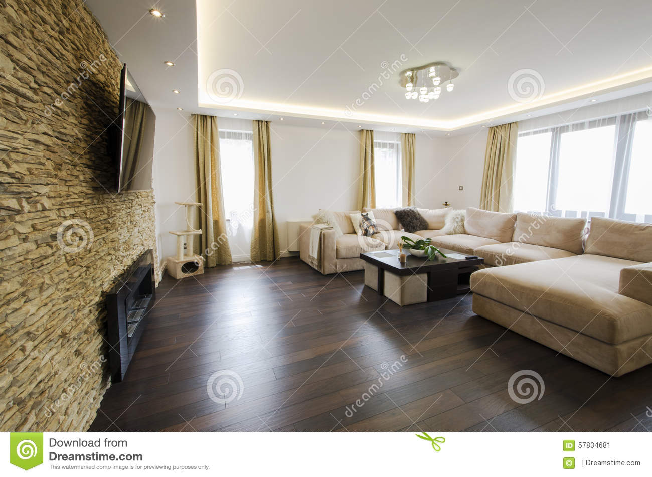 Modern Interior Of A Living Room With Fireplace And TV Stock Photo - Image: 5...