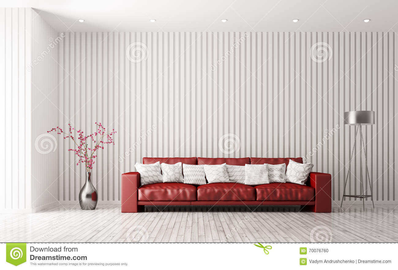 Modern Interior Of Living Room With Red Sofa 3d Rendering Stock ...