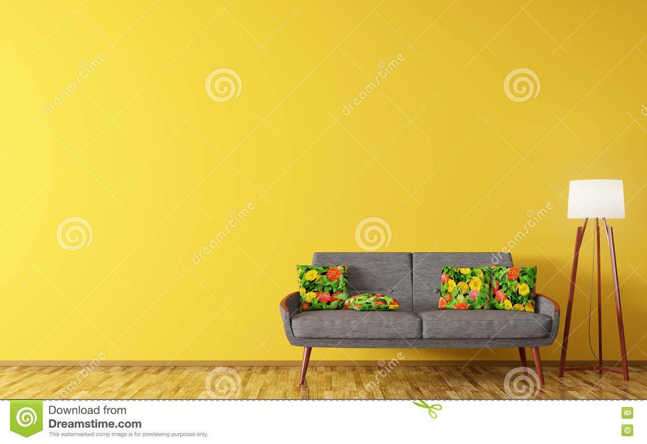 Modern Interior Of Living Room With Sofa And Floor Lamp 3d