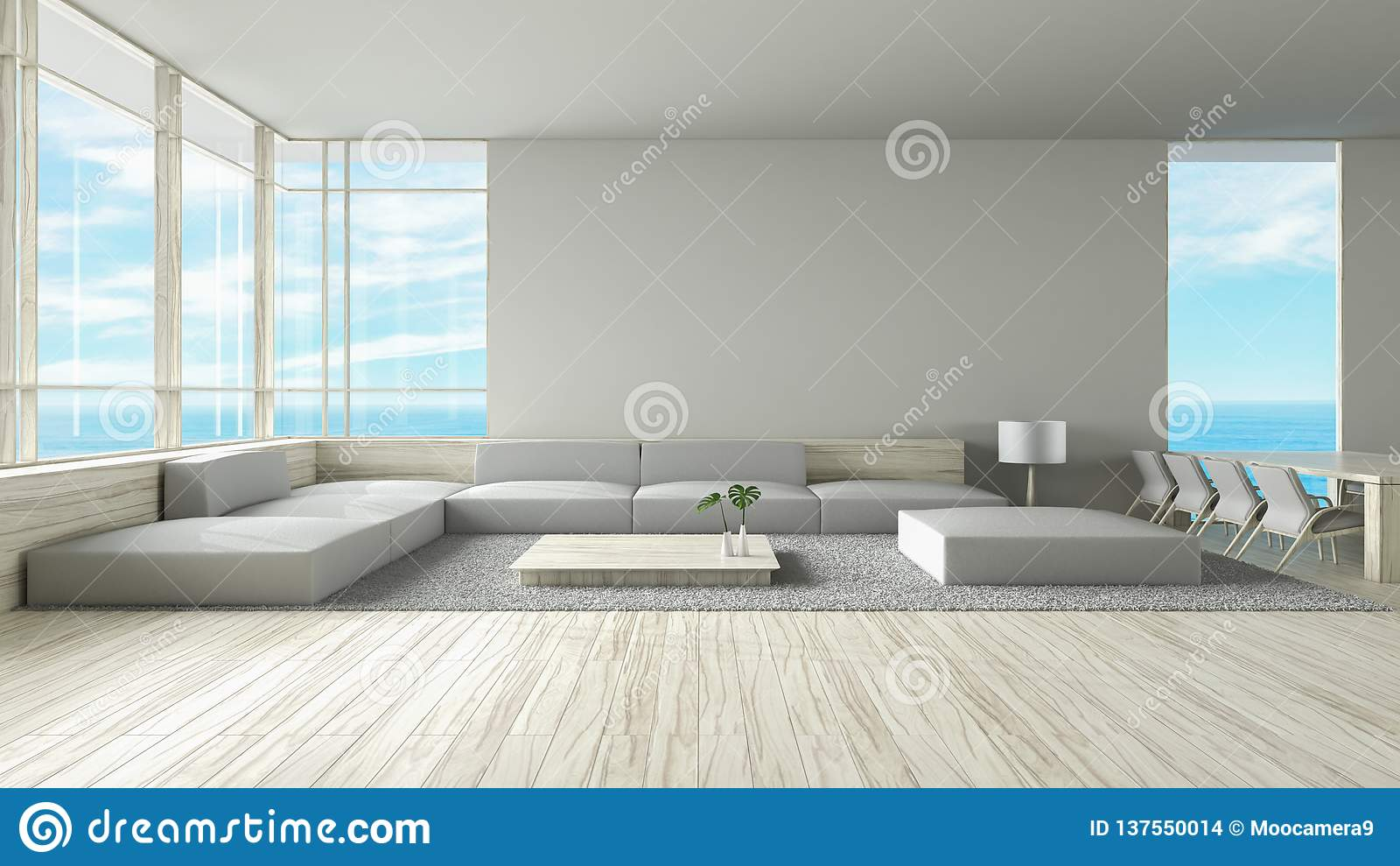 modern interior living room wood floor sofa set sea view summer d rendering modern interior living room wood floor sofa set sea