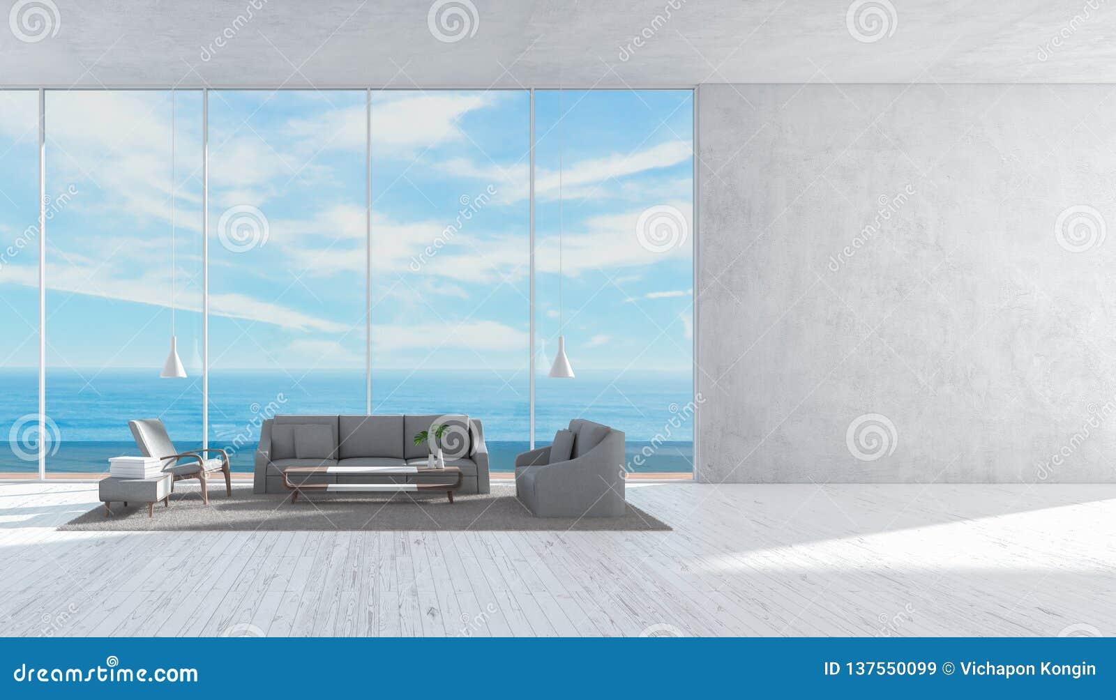Modern interior living room wood floor sofa set sea view summer 3d rendering wall for mockup template