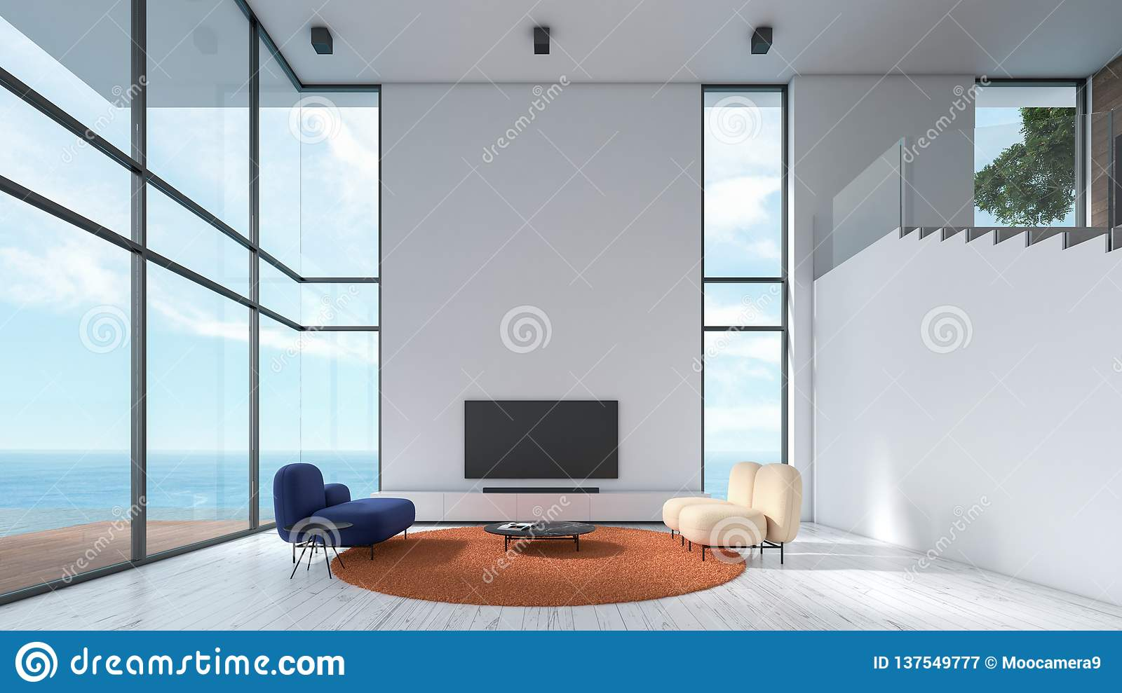 Modern Interior Living Room Wood Floor White Texture Wall
