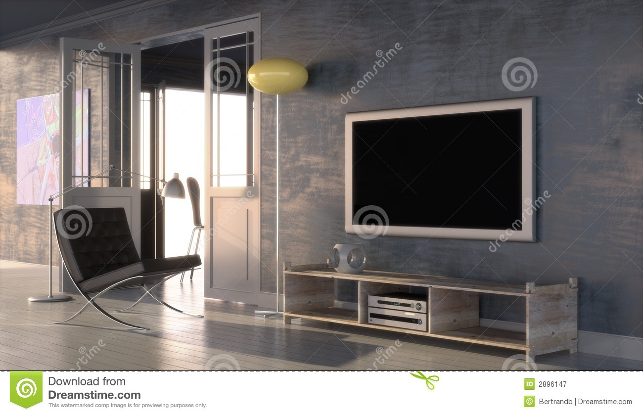 Modern Interior With Plasma Tv Royalty Free Stock