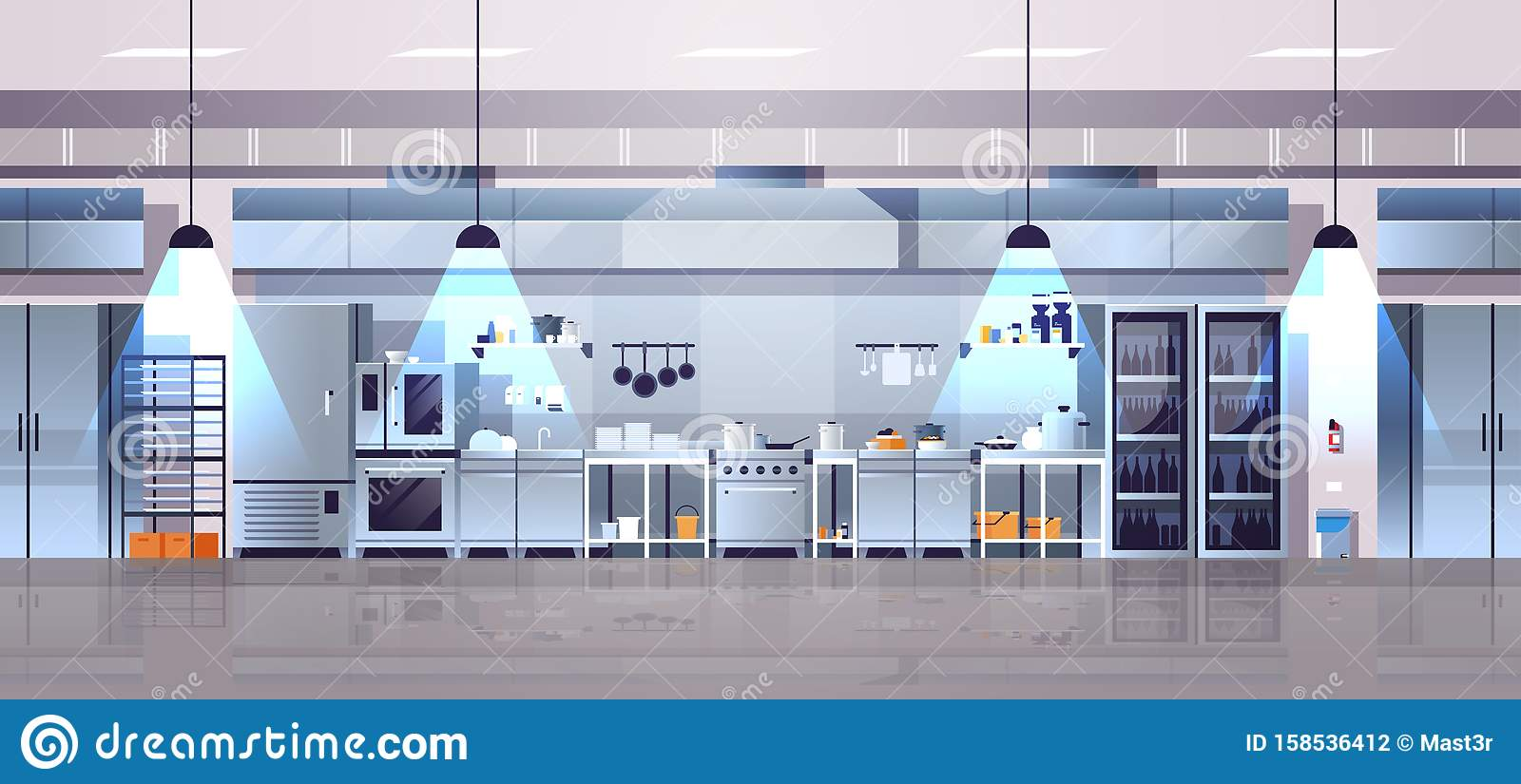Modern Interior Of Professional Cafe Or Restaurant Kitchen With Kitchenware And Equipment Cooking Culinary Concept Flat Stock Vector Illustration Of Design Background 158536412