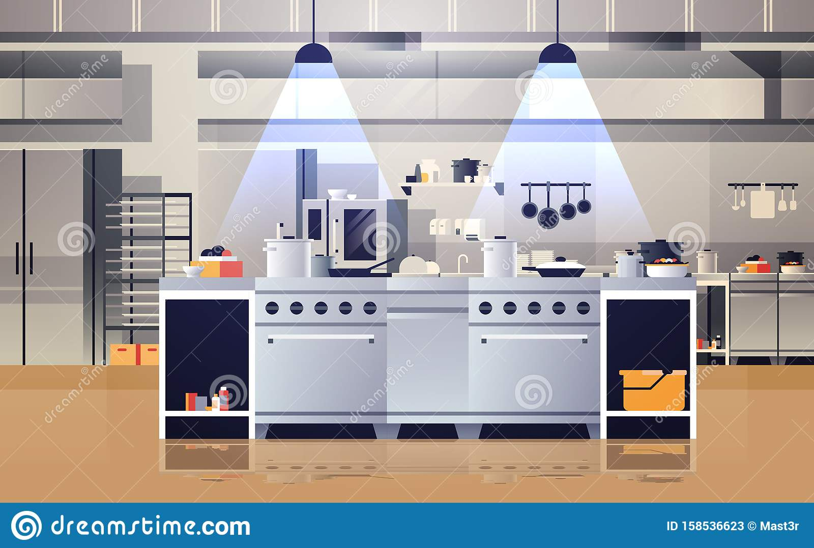 Modern Interior Of Professional Cafe Or Restaurant Kitchen With Kitchenware And Equipment Cooking Culinary Concept Flat Stock Vector Illustration Of Background Counter 158536623