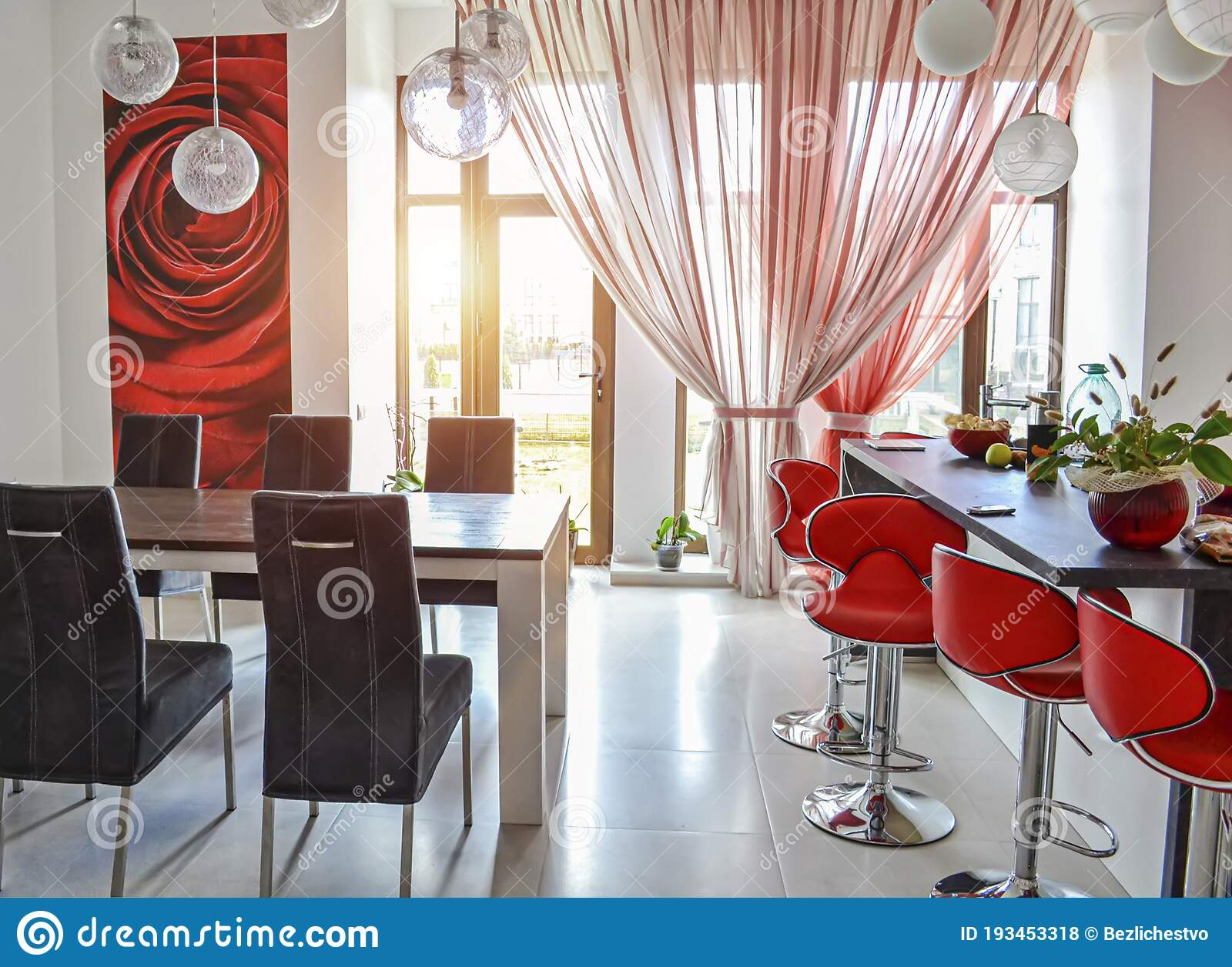 Modern Interior Of A Red White Living Room With A Bar Area And A Dining Business Business Table In A Large Room The Stock Photo Image Of Poster Decor 193453318