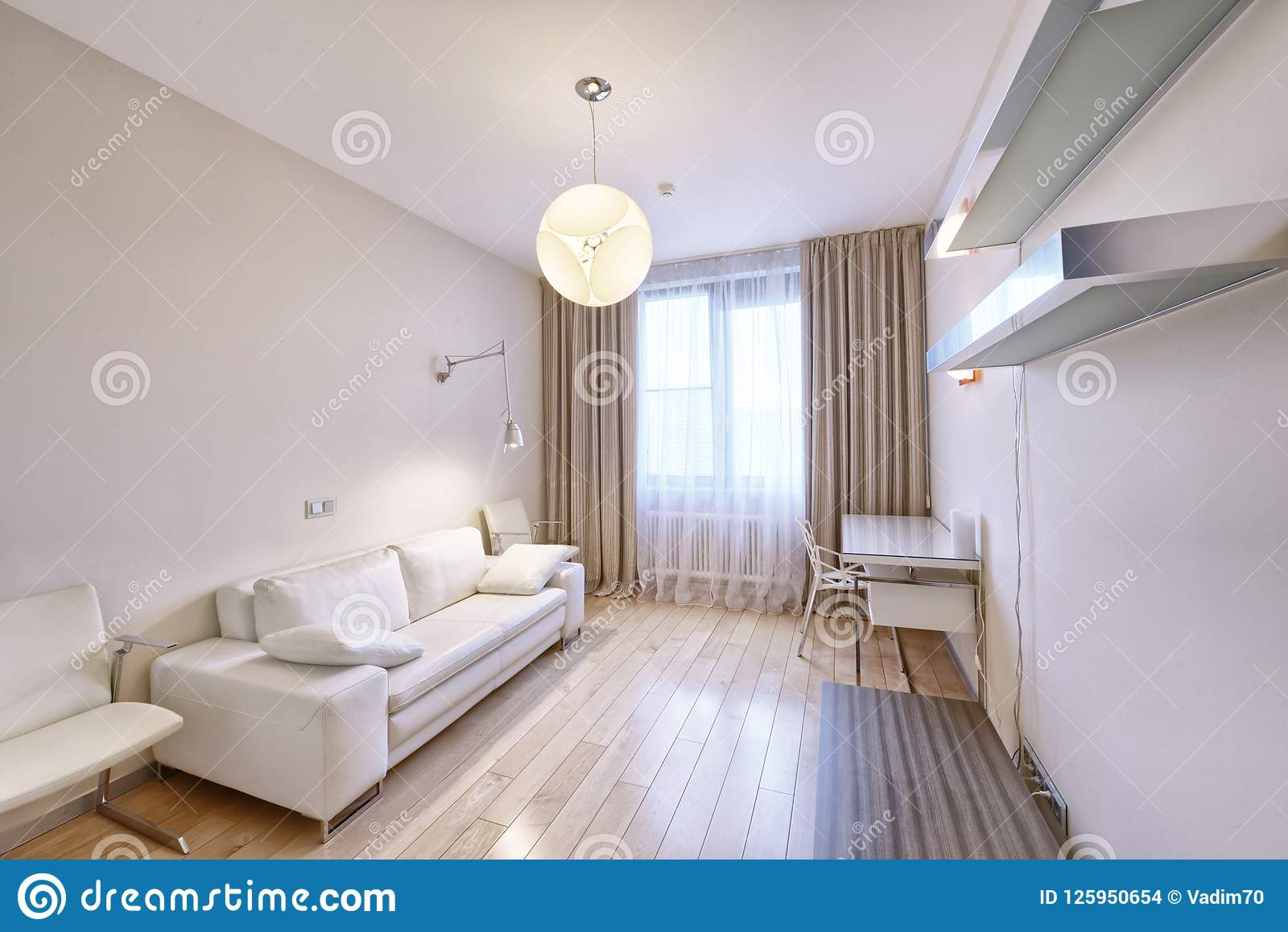 The interior of a modern apartment in white stock photo image