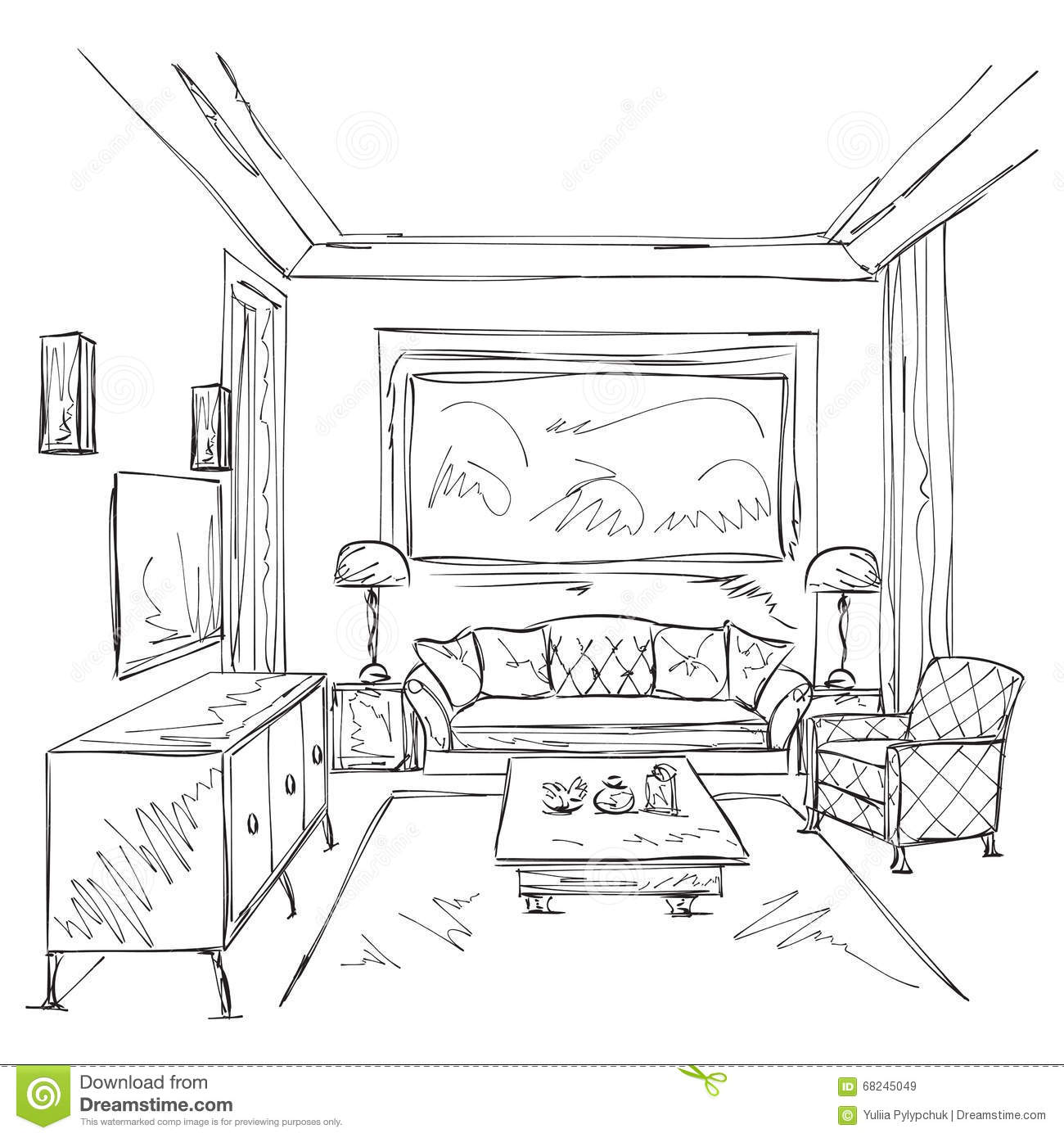 Modern Interior Room Sketch. Chair And Furniture. Stock