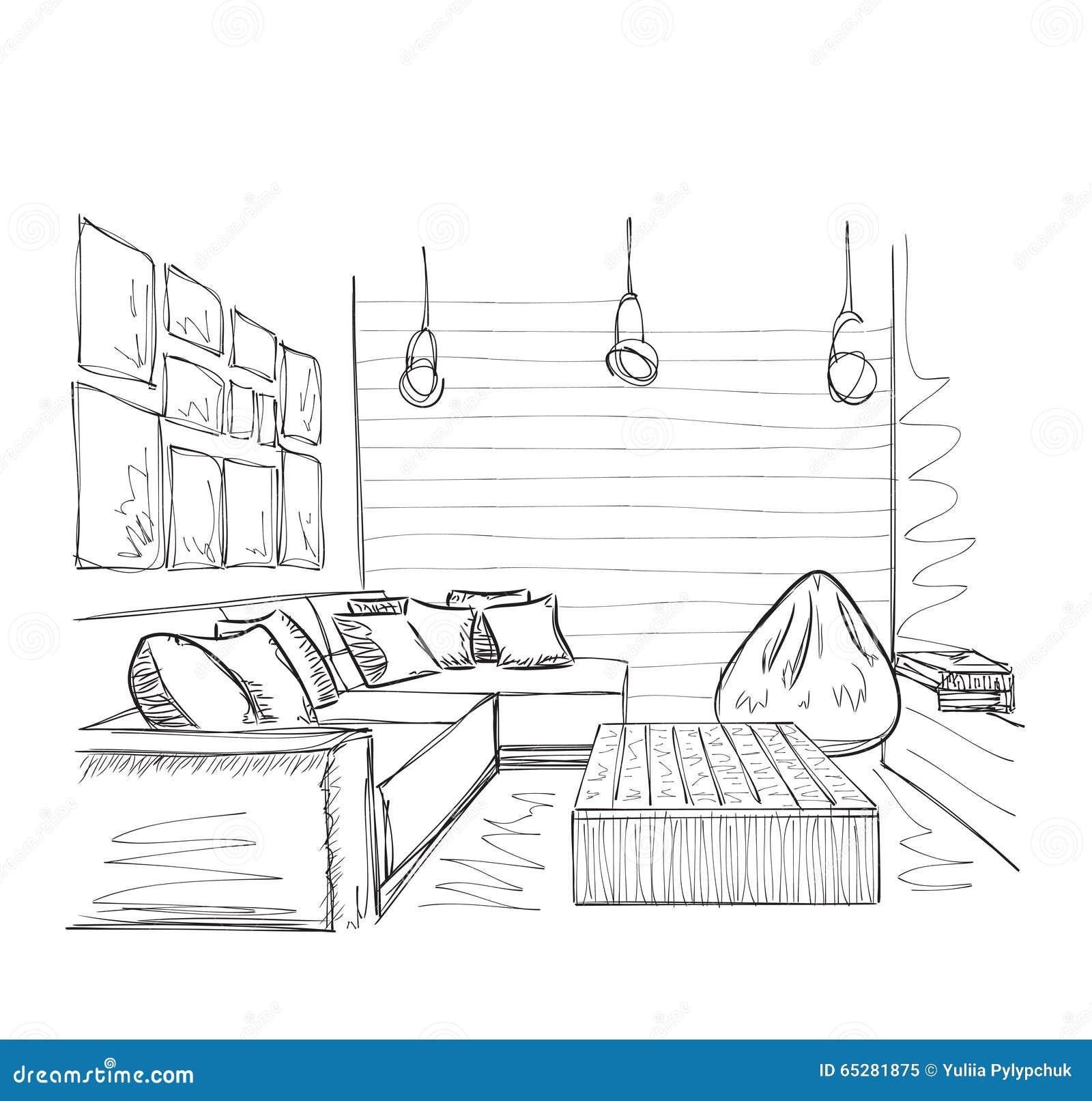 Modern Interior Room Sketch Hand Drawn Furniture Stock Vector