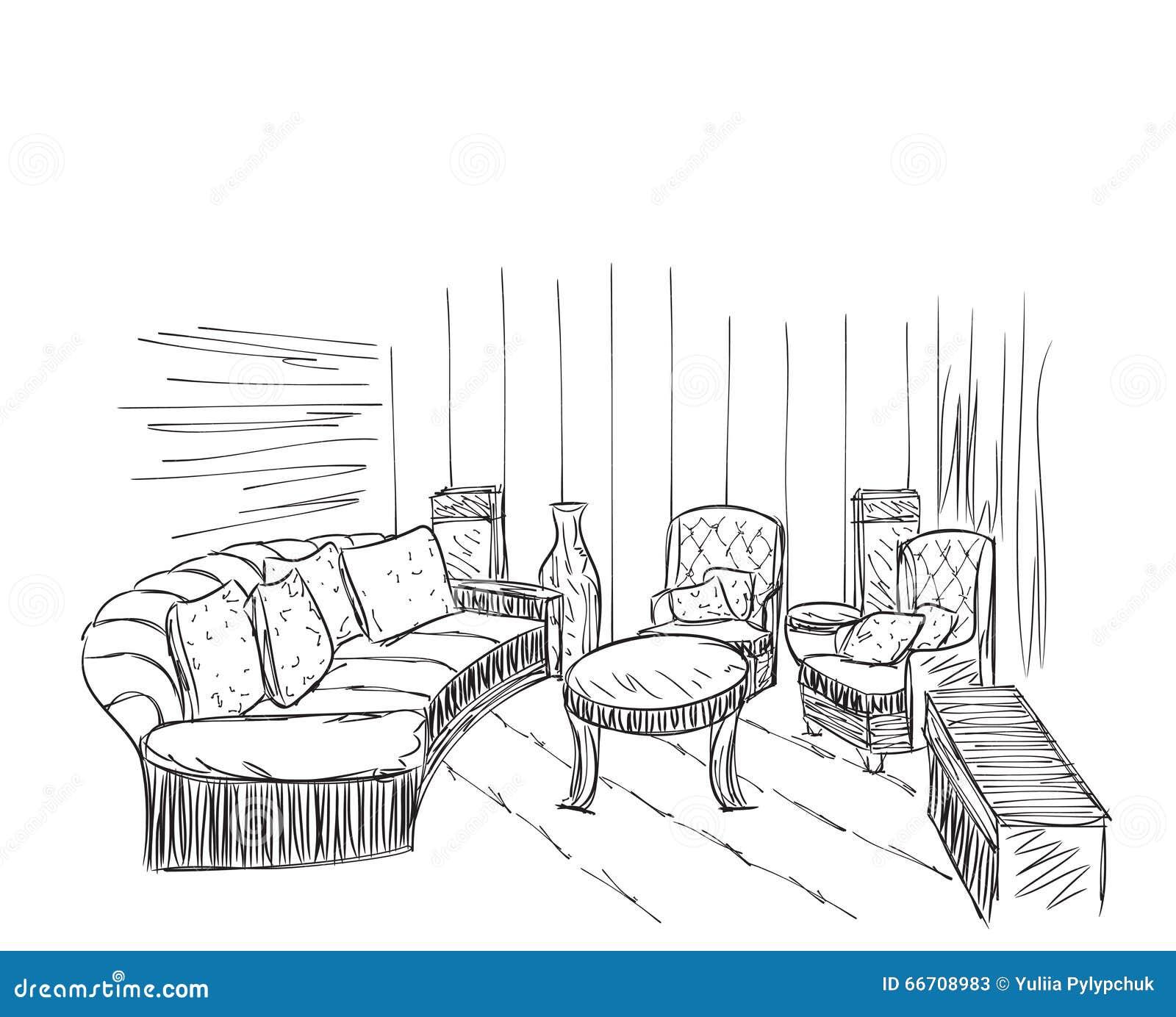Modern Interior Room Sketch. Hand Drawn Furniture. Vector