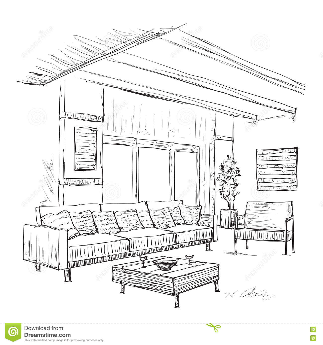 Modern Interior Room Sketch. Hand Drawn Furniture. Stock