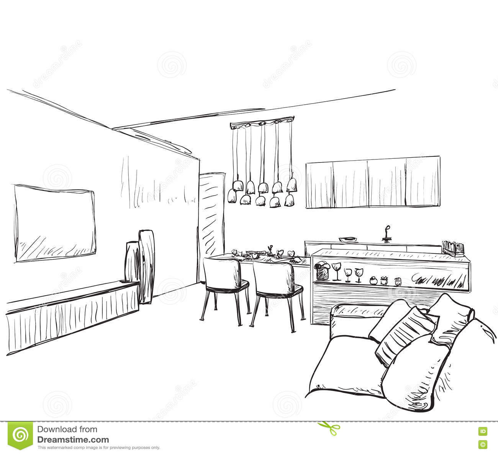 Download modern interior room sketch hand drawn furniture stock vector illustration of salon