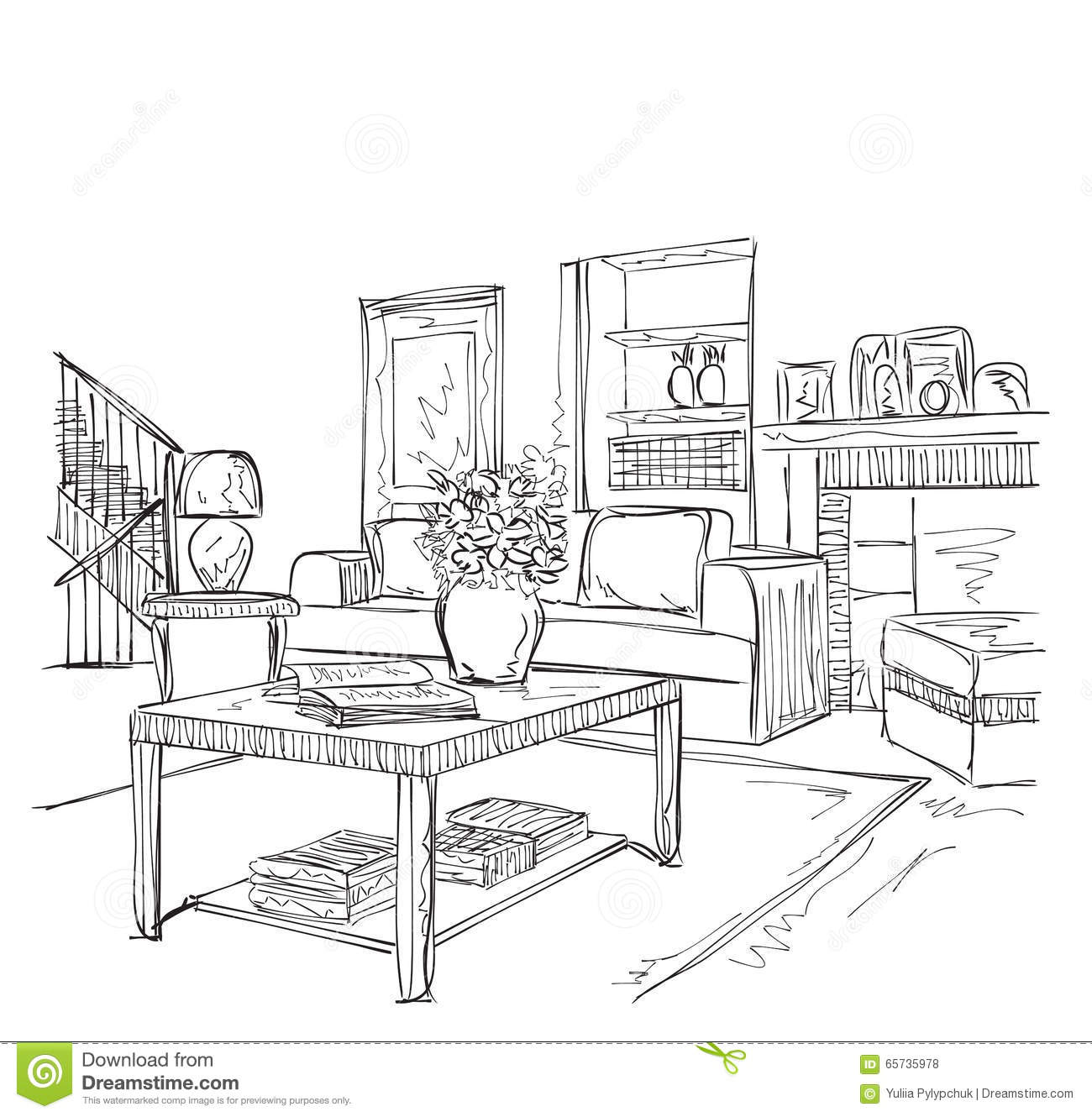 Modern Interior Room Sketch. Stock Vector