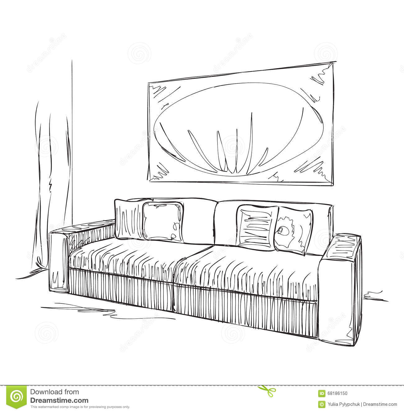 Modern Interior Room Sketch Hand Drawn Sofa Stock Vector