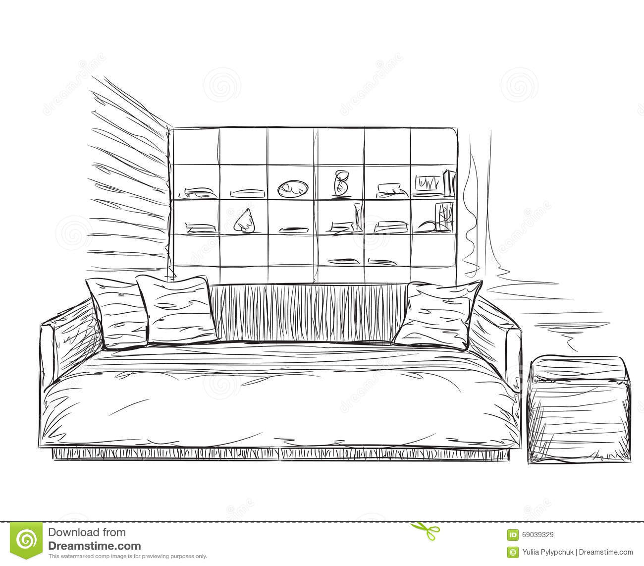 Modern Interior Room Sketch. Sofa And Furniture Stock