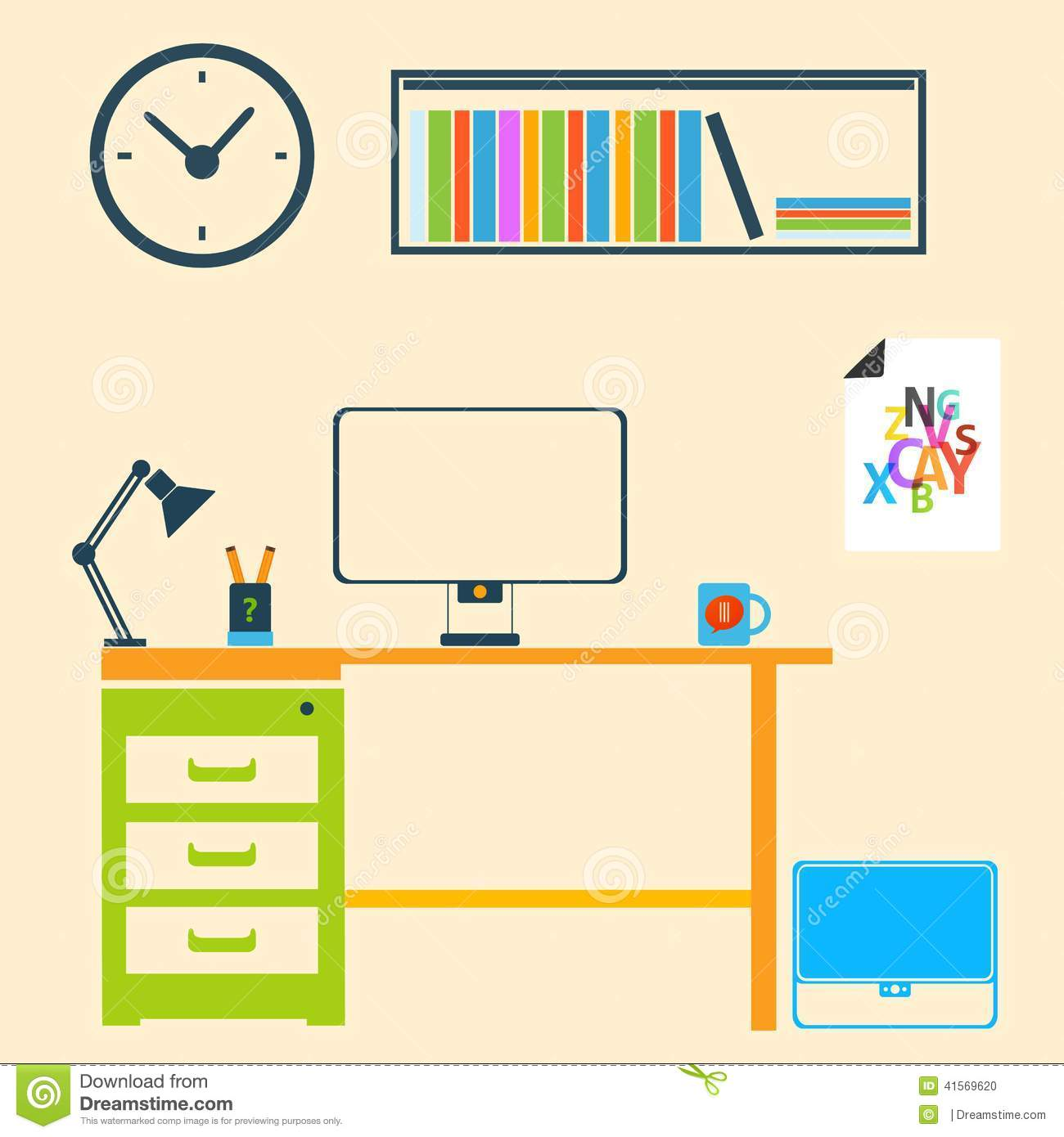 Room Clip Art: Modern Interior Room To Work And Study Stock Vector