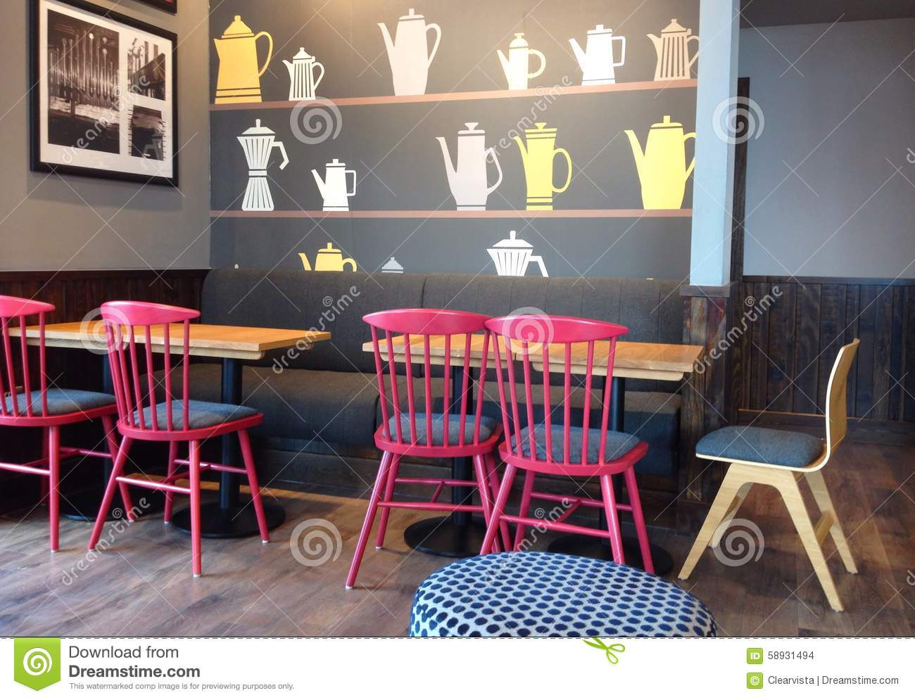 Modern interior seating in a restaurant or coffee shop for Contemporary seating
