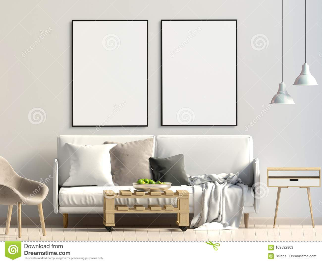 Modern interior wall mockup console smart stockillustration