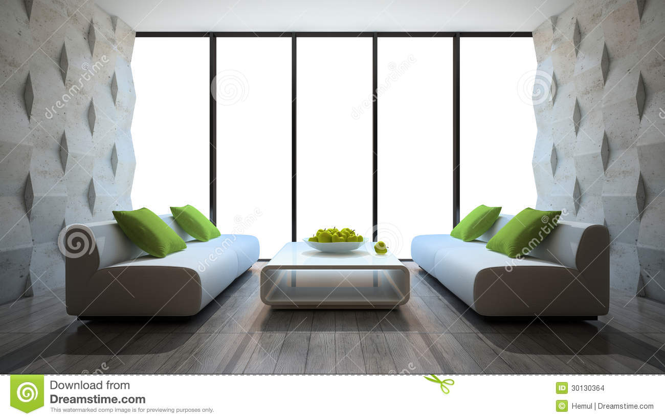 Modern interior with two sofas and concrete wall panels - Contemporary wall panels interior ...