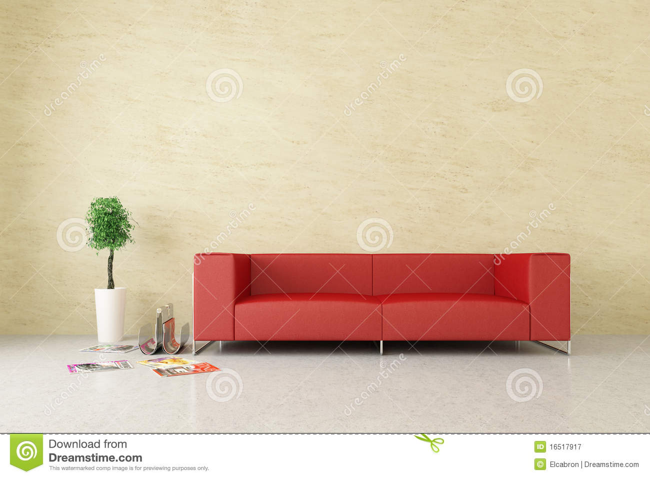 Modern Interior With Venetian Stucco Wall Royalty Free Stock Photography