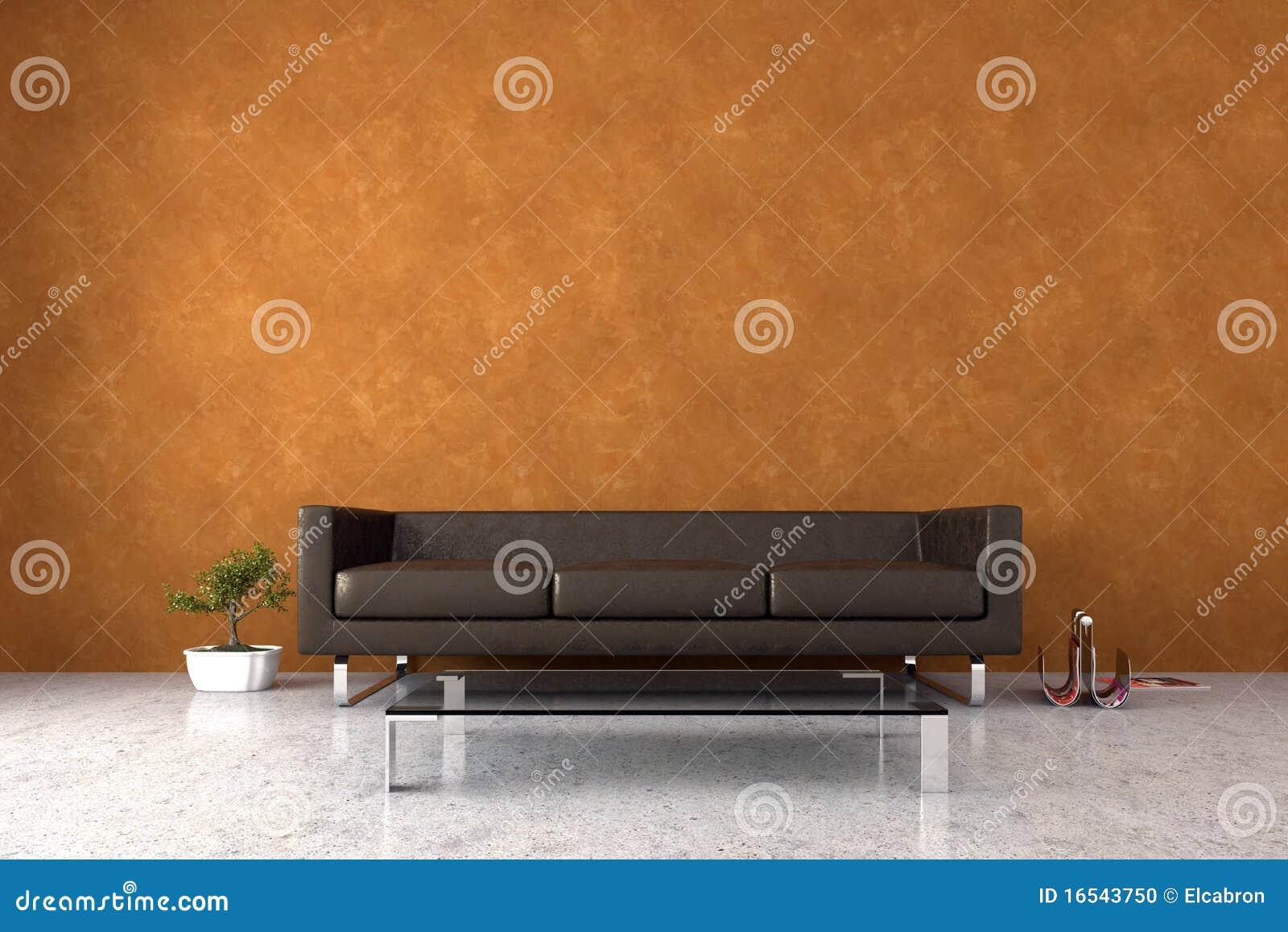Modern Interior With Venetian Stucco Wall Stock Photo