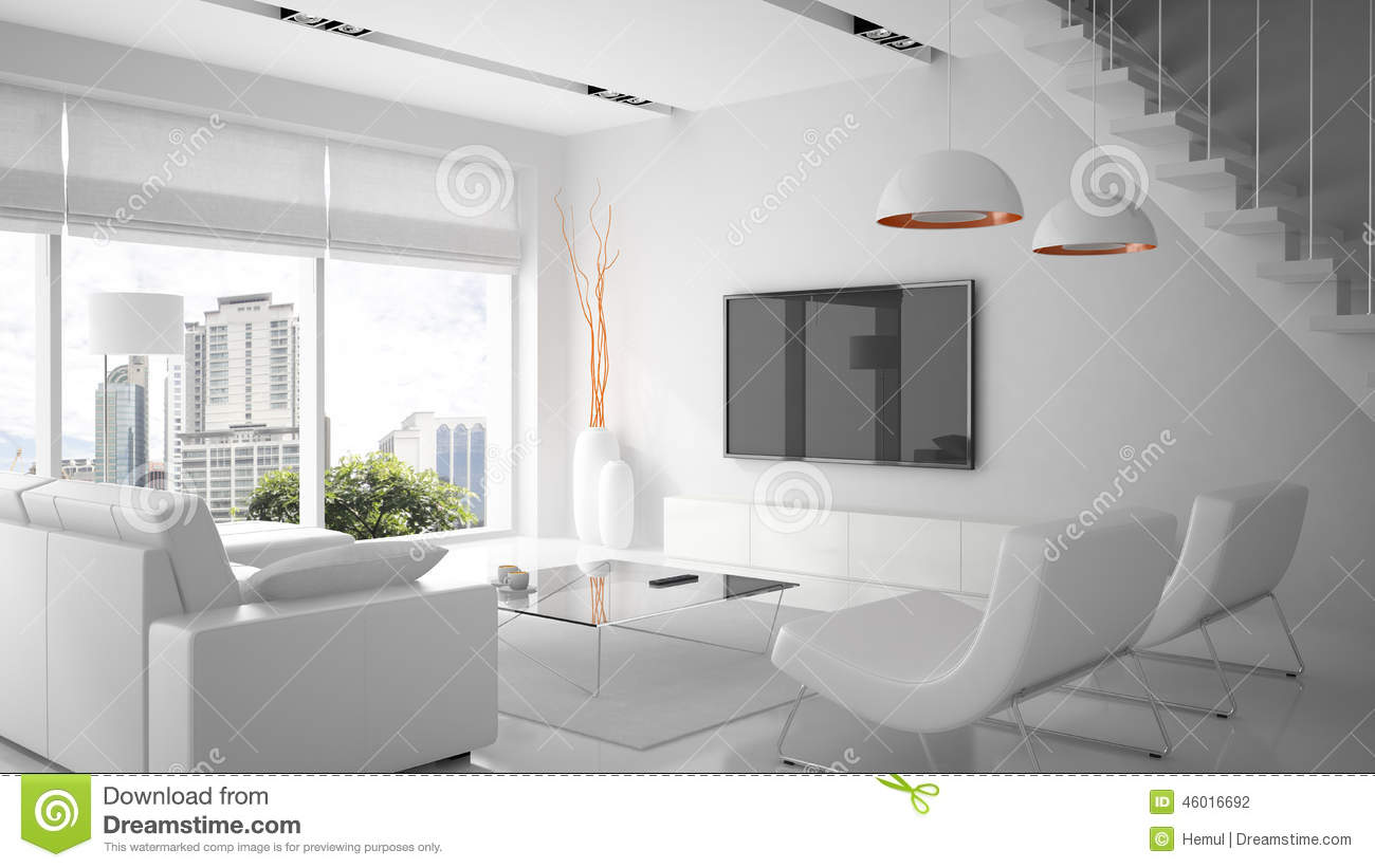 White interior reflection royalty free stock photography for Modern white interior