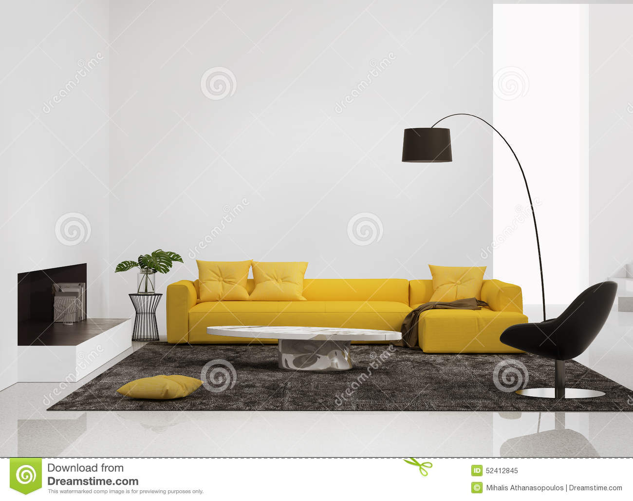 Living Room Yellow Sofa modern interior with a yellow sofa in the living room stock