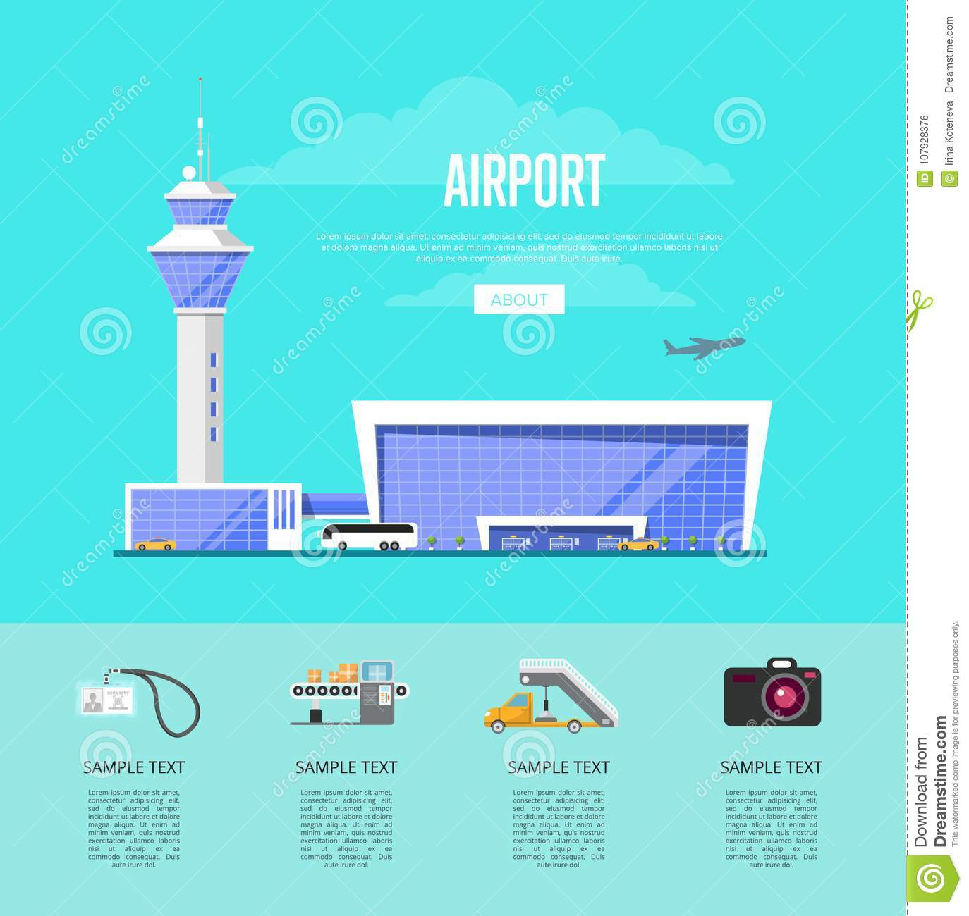 Glassy passenger air terminal with flight control tower vector  illustration. Worldwide commercial airline poster, fast and comfortable air  transportation.