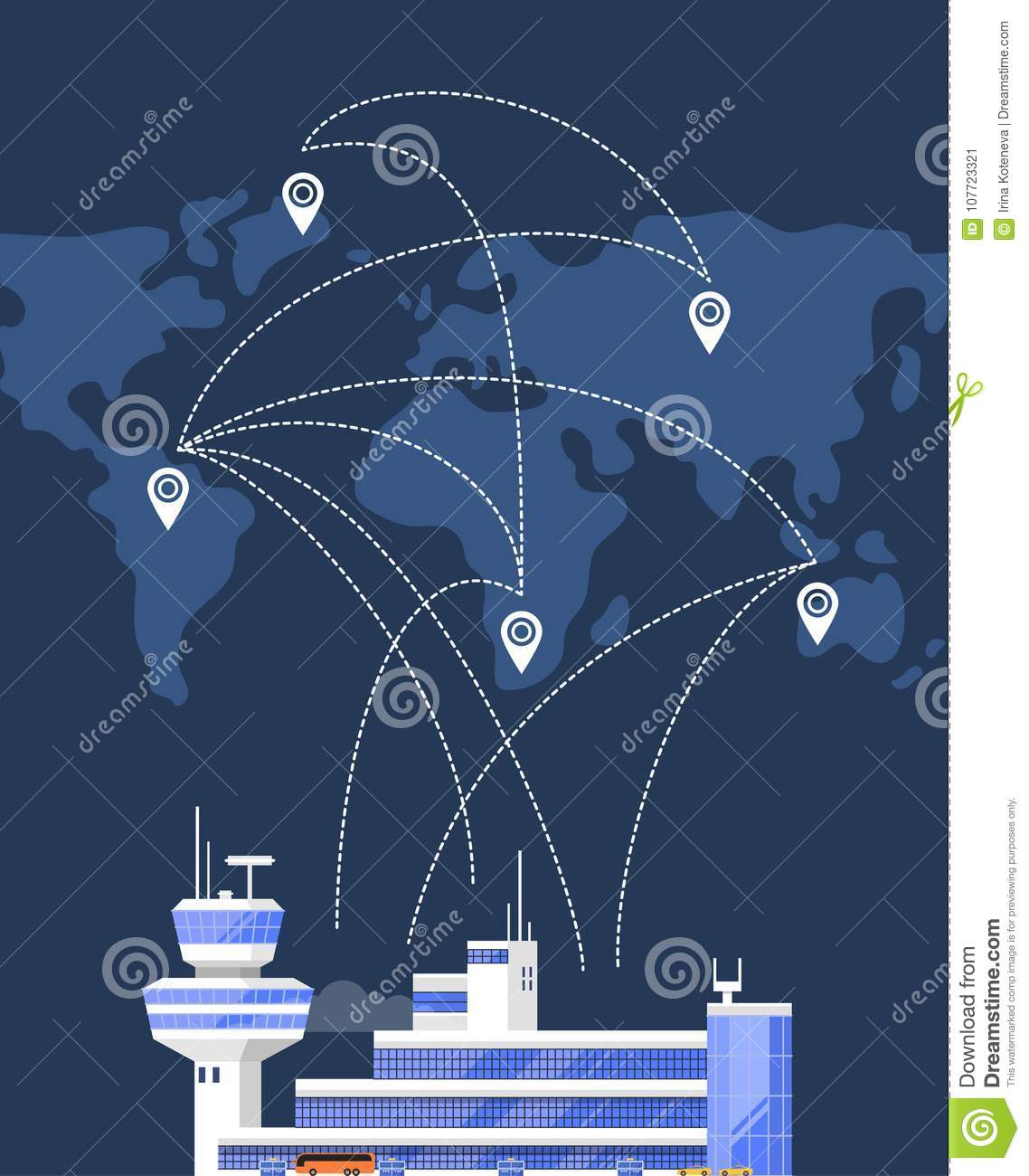 Glassy passenger air terminal with flight control tower on background of  world map with air routes vector illustration. Worldwide commercial airline  poster.