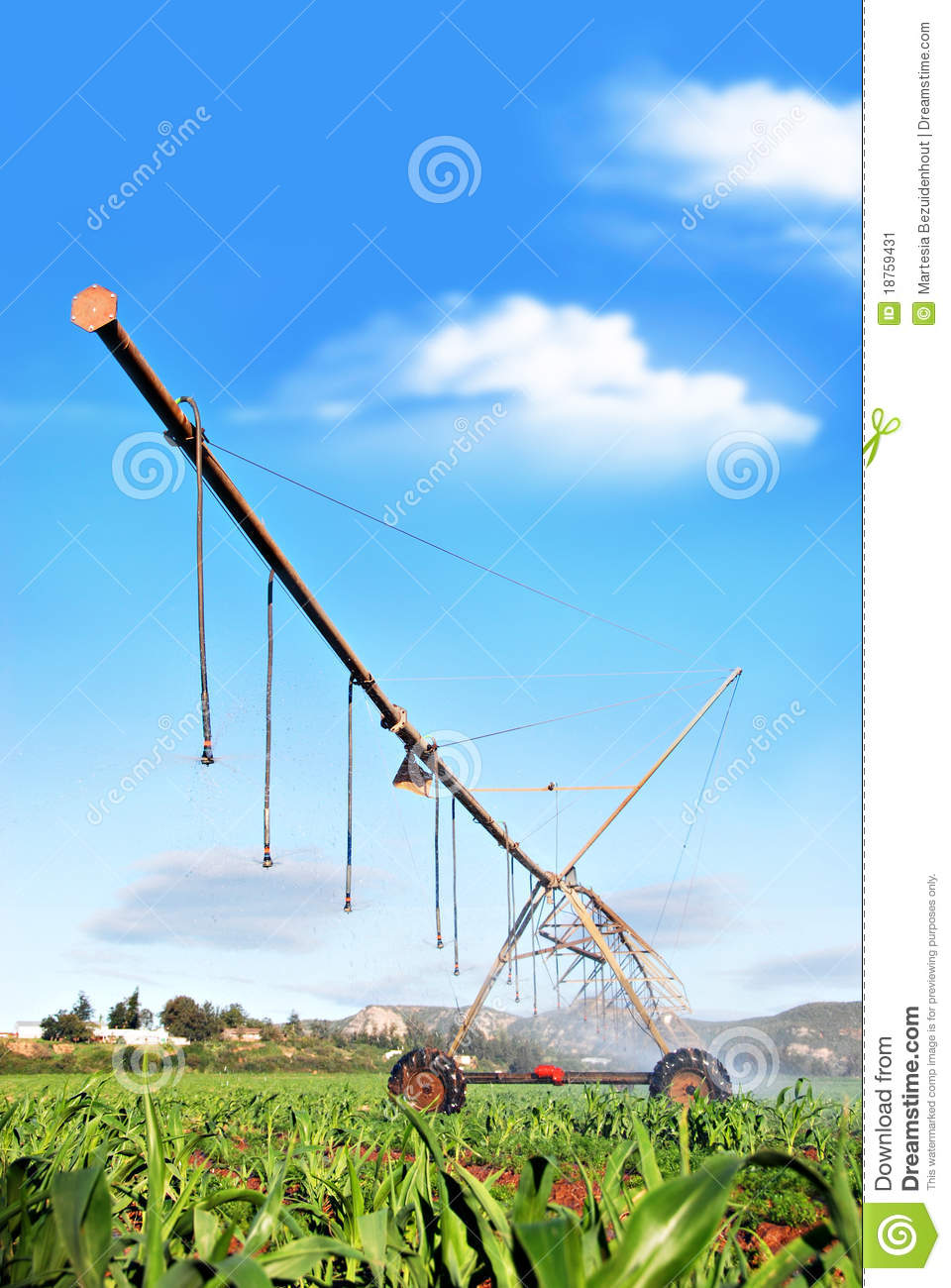 Modern Irrigation System Watering A Farm Field Stock Image - Image ...