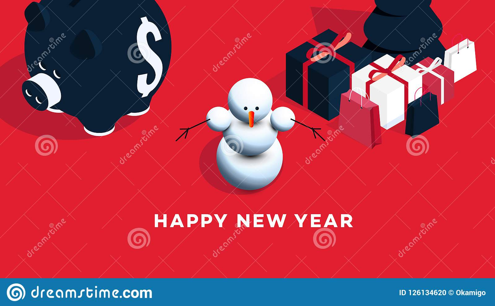 modern isometric happy new year background vector template for 2019 gift cards promotional web pages sale billboards