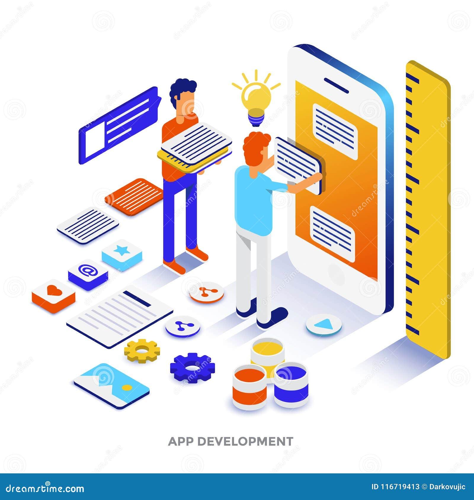 Modern isometrisk illustration för plan färg - App-utveckling