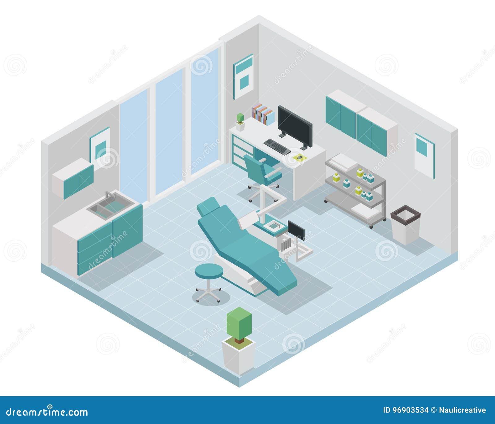 Modern isometrisk tandläkare Clinic Interior Design