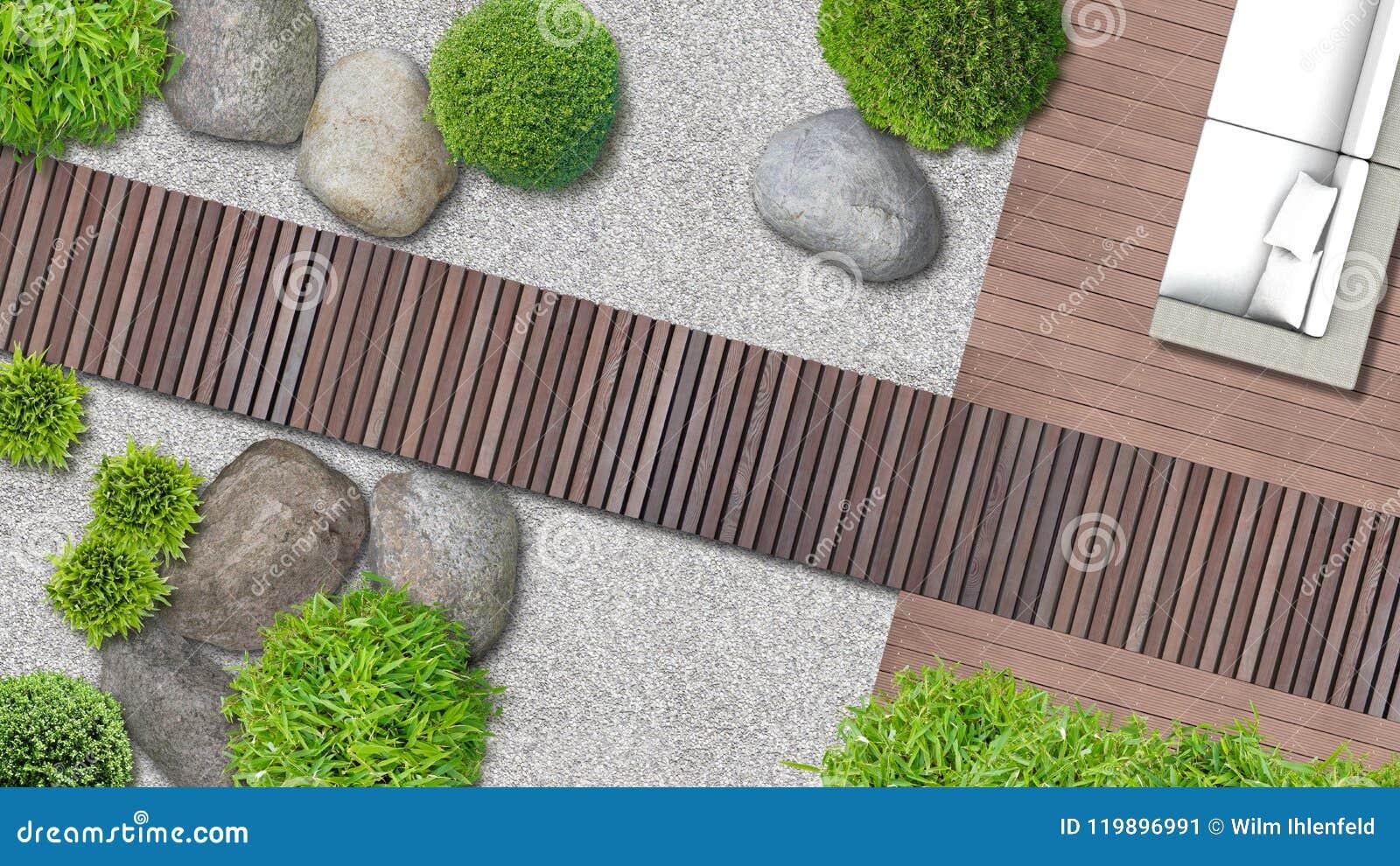 Modern Japanese Garden Design In Top View Stock Illustration