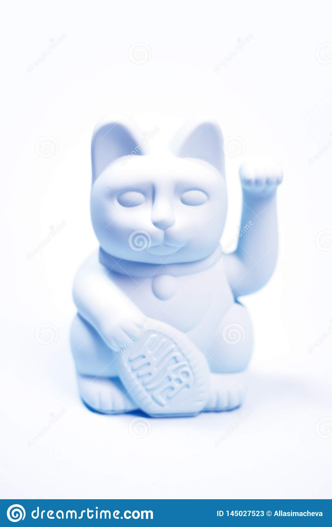 Japanese lucky cat on white background