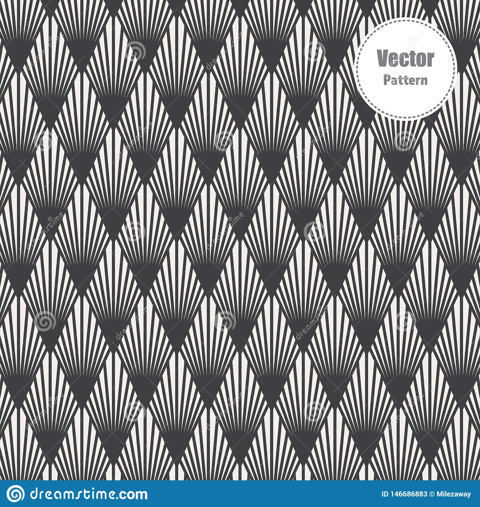Modern Japanese motif. Interlocking triangles tessellation background. Image with repeated scallops. Fish scale.