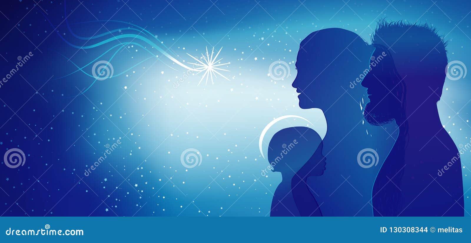 Modern juljulkrubba Blåa konturprofiler med Joseph - Mary och att behandla som ett barn Jesus Åtskillig exponering