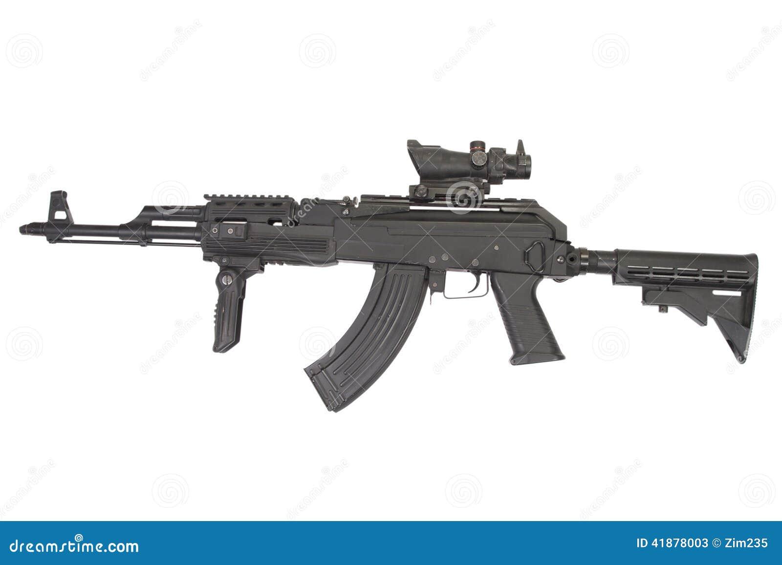 Modern Kalashnikov AK47 With Accessories Stock Image - Image of