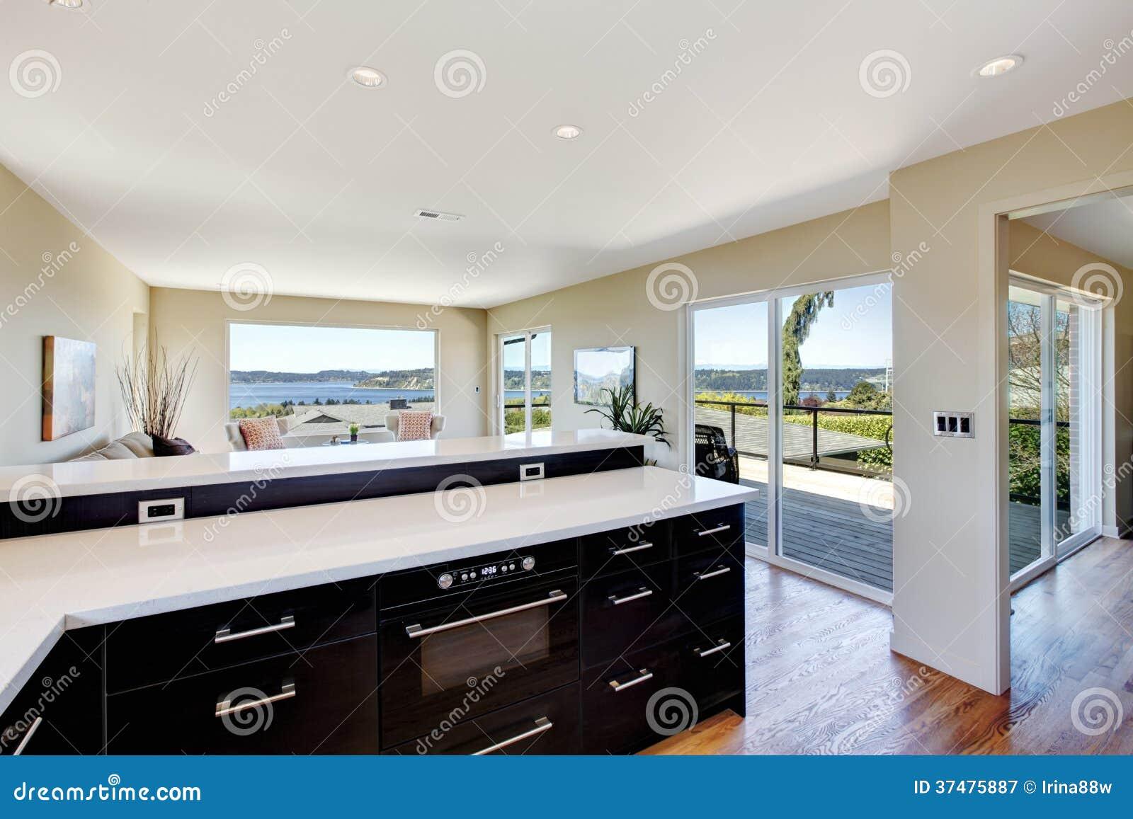 Modern Keuken En Woonkamerontwerp. Het Open Idee Van Het ...