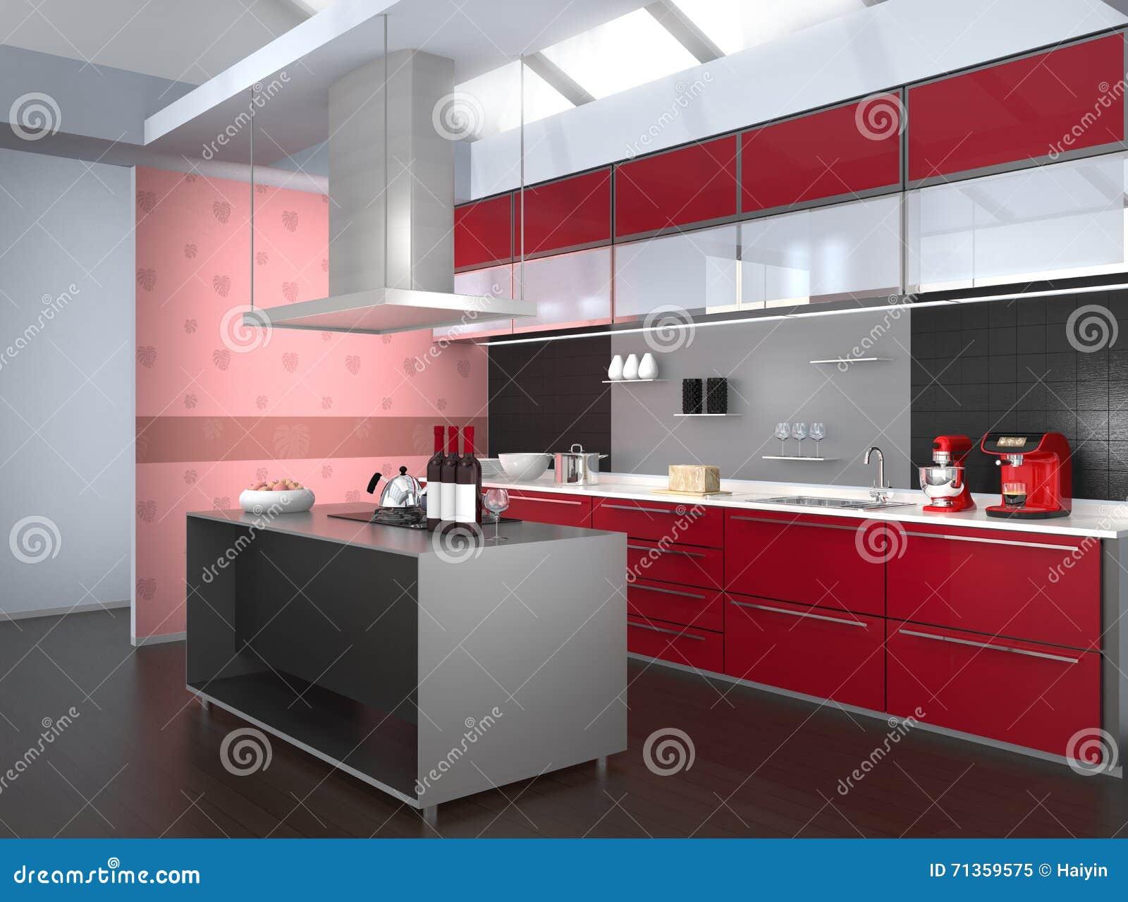 Modern keukenbinnenland met slimme toestellen in rode ...