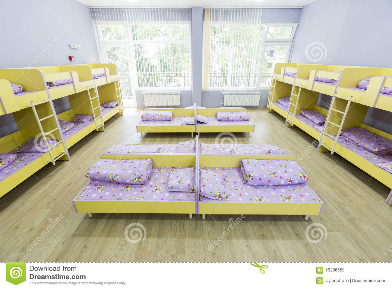 Modern Kindergarten Bedroom With Small Beds Stock Photo - Image: 56236650
