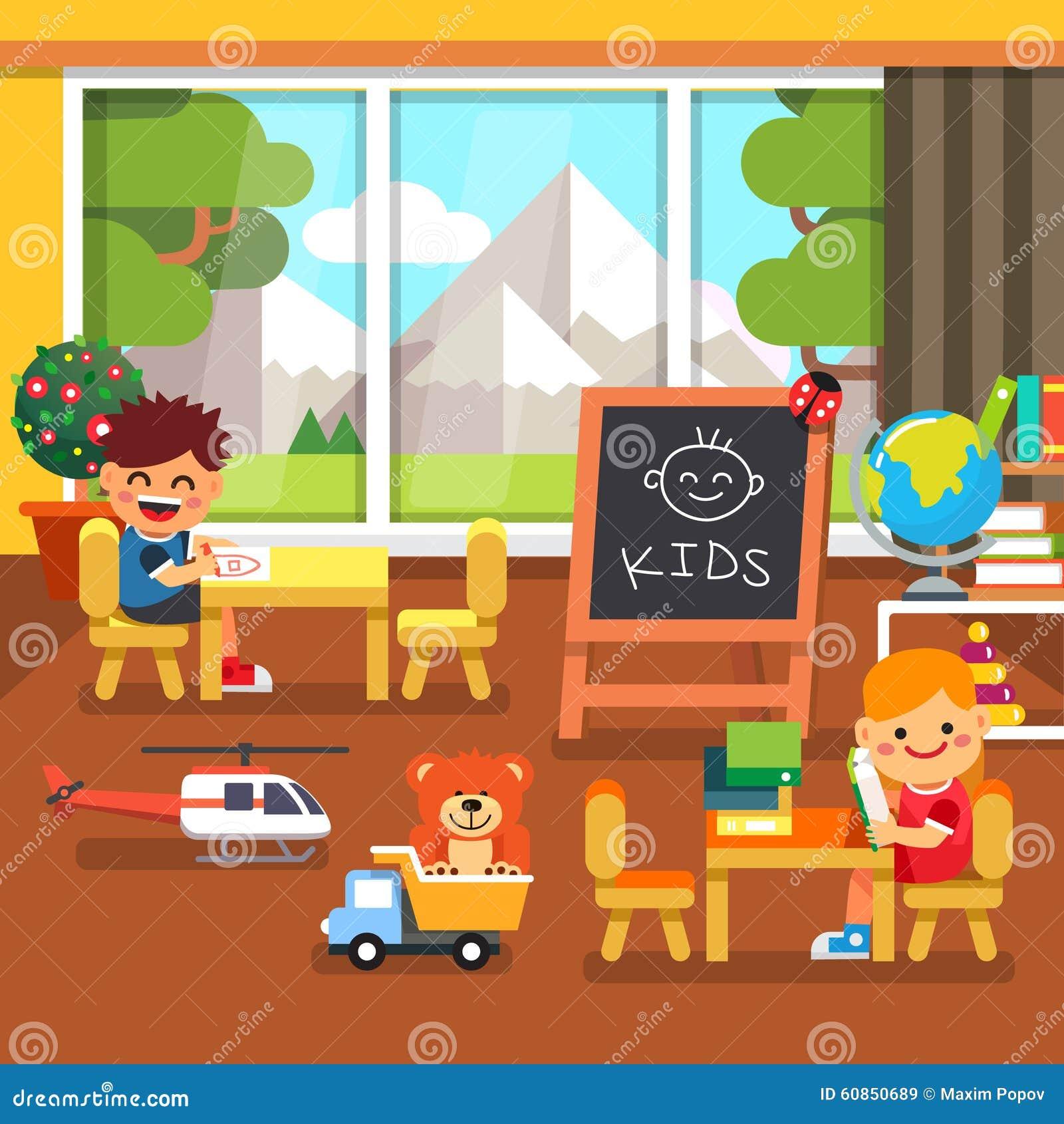 Modern Classroom Game ~ Modern kindergarten playroom kids playing stock vector